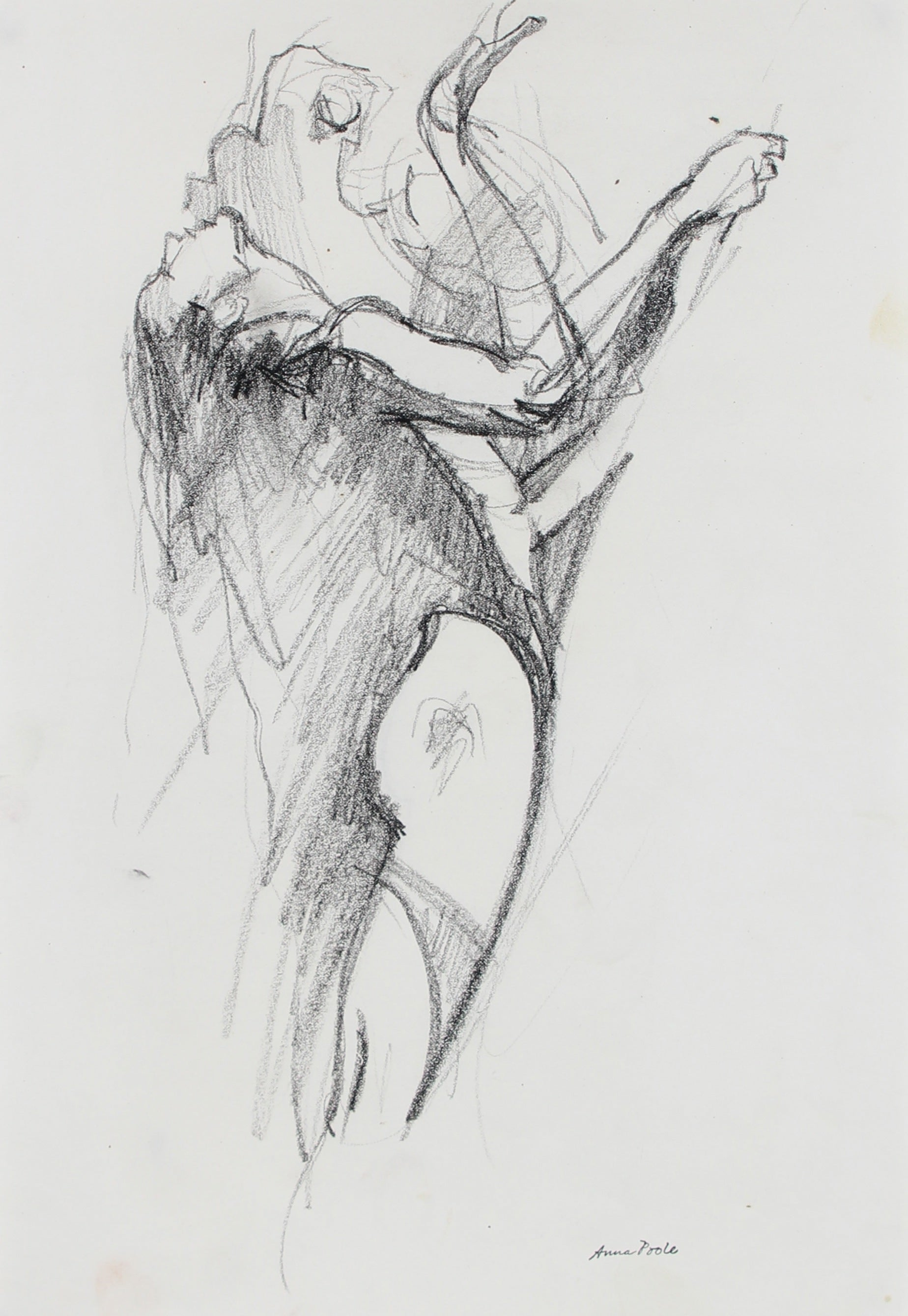 Arched Nude Figure Study <br>Late 20th Century Charcoal <br><br>#98986