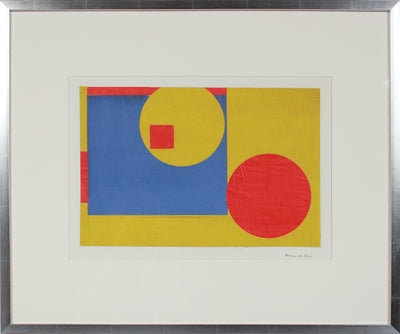 Geometric Abstract in Blue, Yellow & Red <br>Mid Century Collage <br><br>#99054