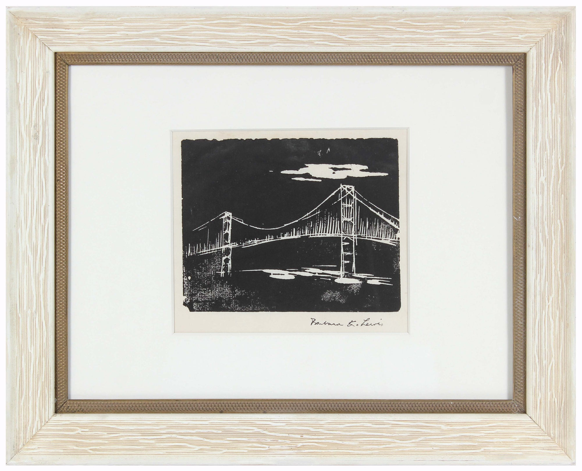 View of the Golden Gate Bridge<br>Late 20th Century Woodblock<br><br>#99070