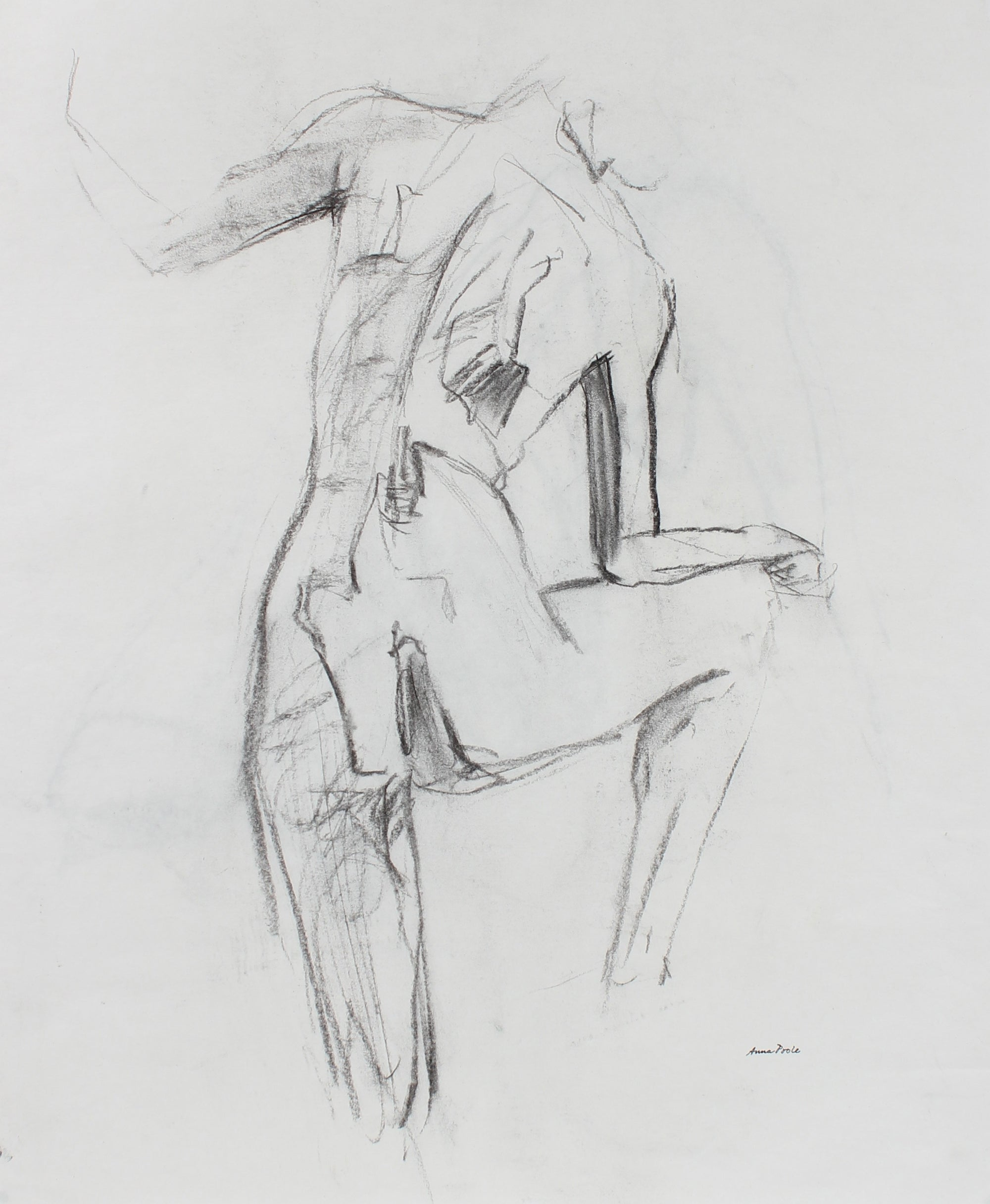 Nude Figure Study <br>Late 20th Century Charcoal <br><br>#99078