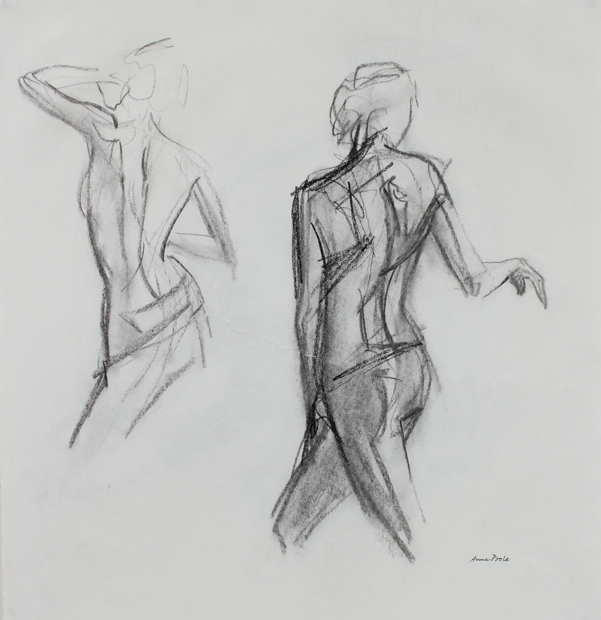 Nude Figure Study <br>Late 20th Century Charcoal <br><br>#99082