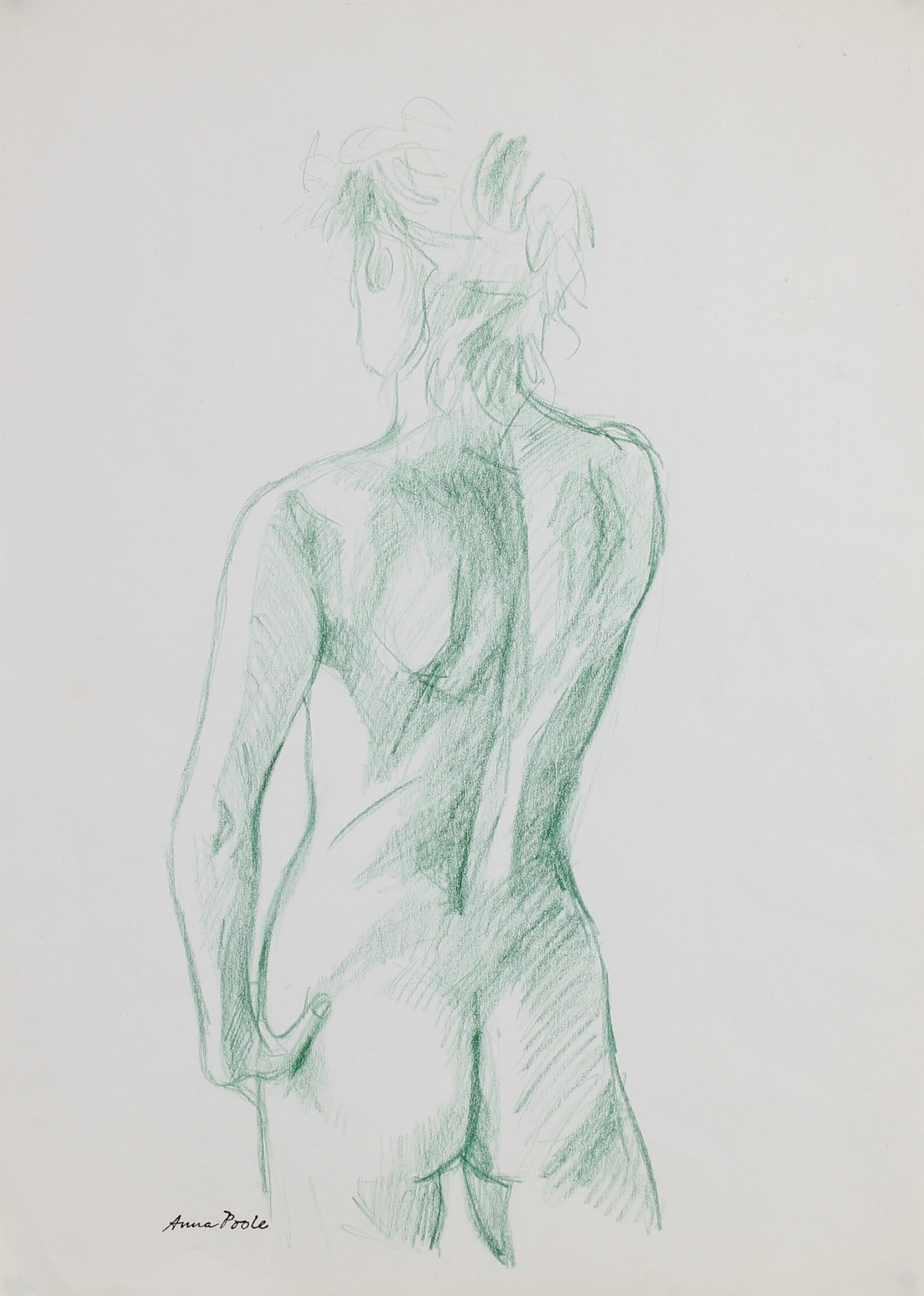 Green Female Nude Sketch<br>Late 20th Century Colored Pencil<br><br>#99123