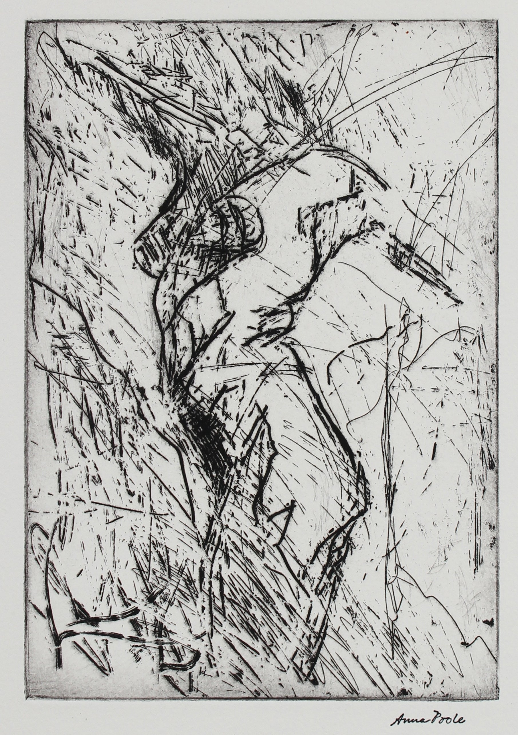 Figurative Torso Deconstruction<br>Late 20th Century Etching<br><br>#99136