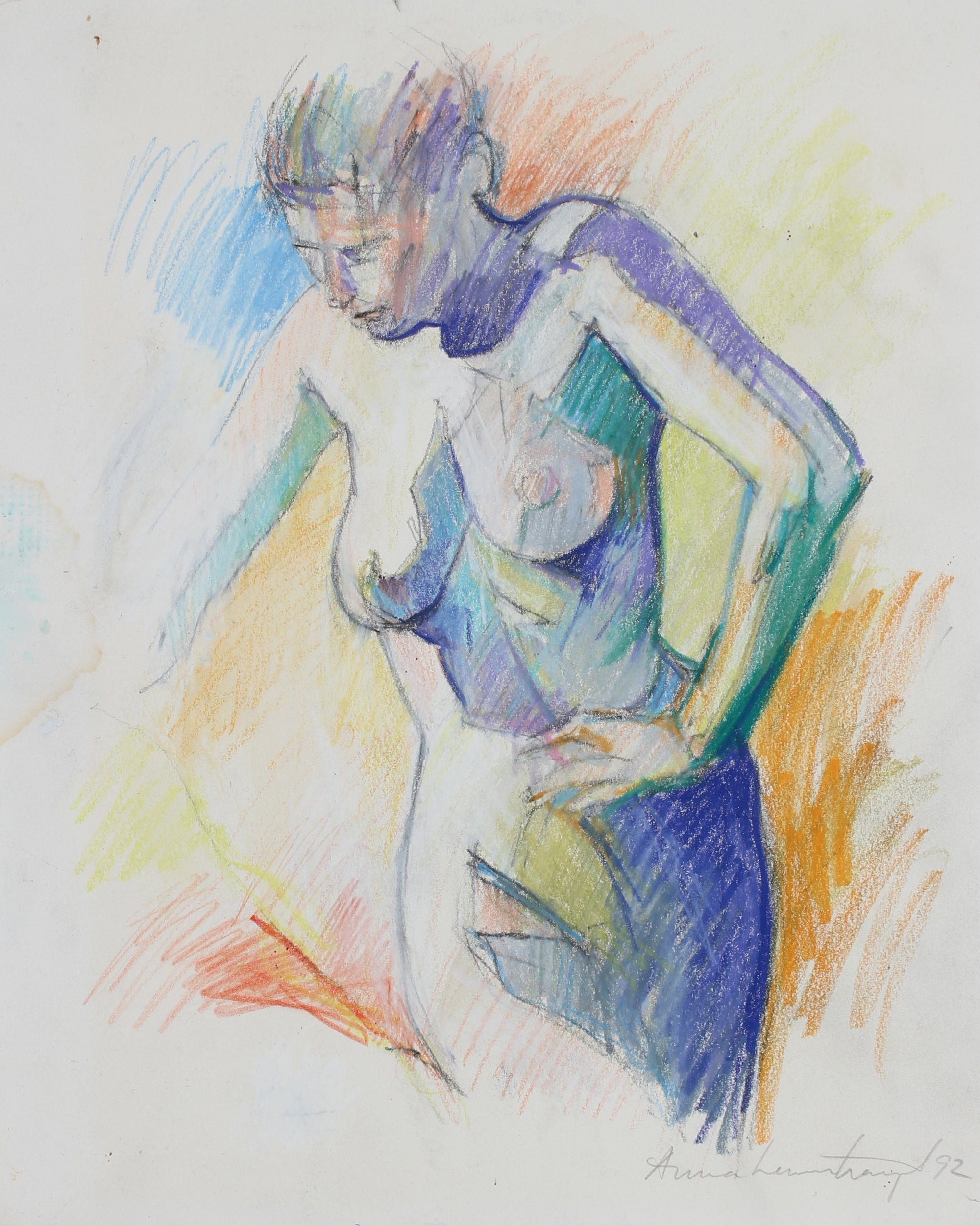 Colorful Female Nude Drawing <br>1992 Oil Pastel & Graphite <br><br>#99144