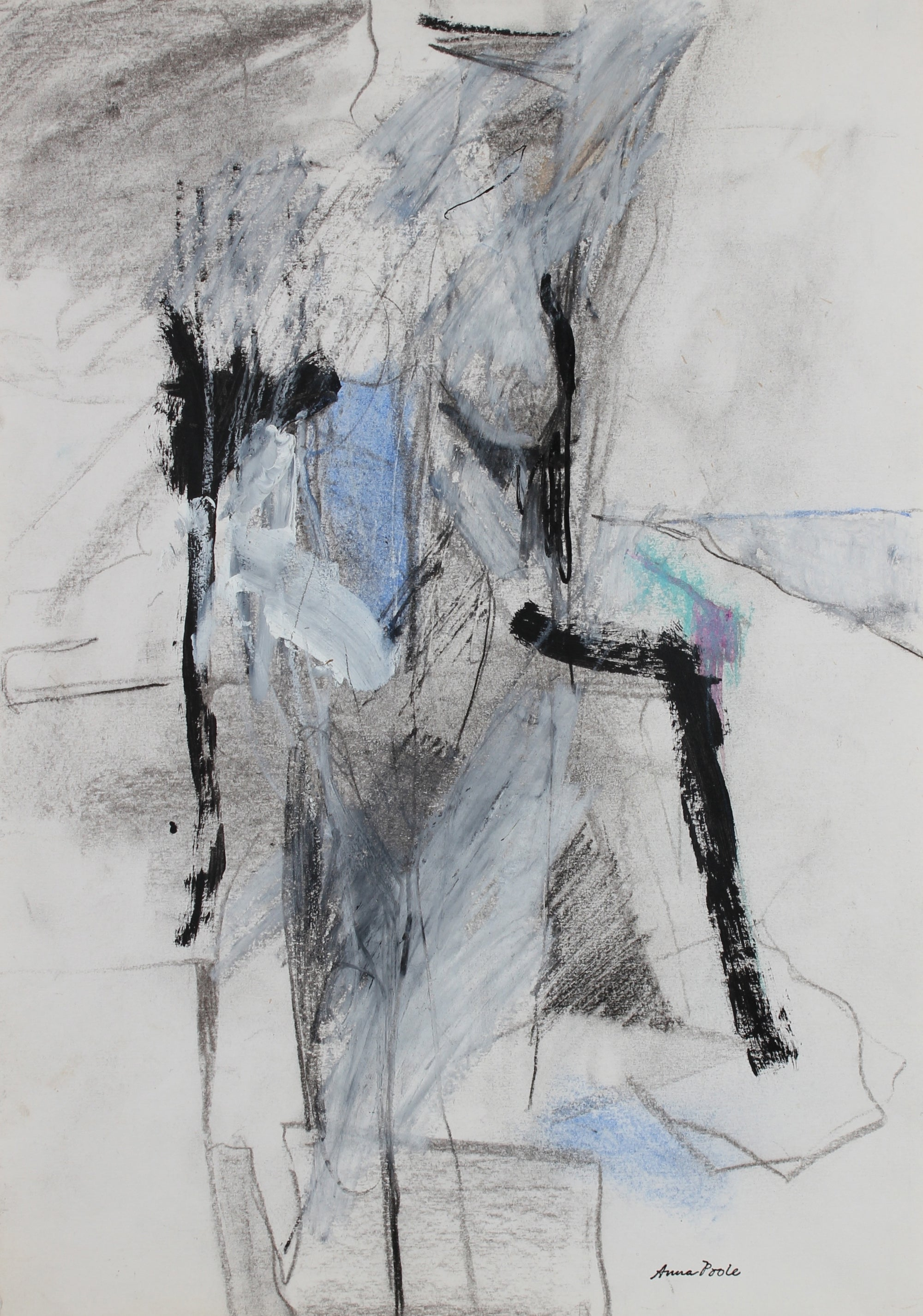 Cool Toned Figure Drawing <br>Late 20th Century Charcoal, Gouache and Pastel <br><br>#99149