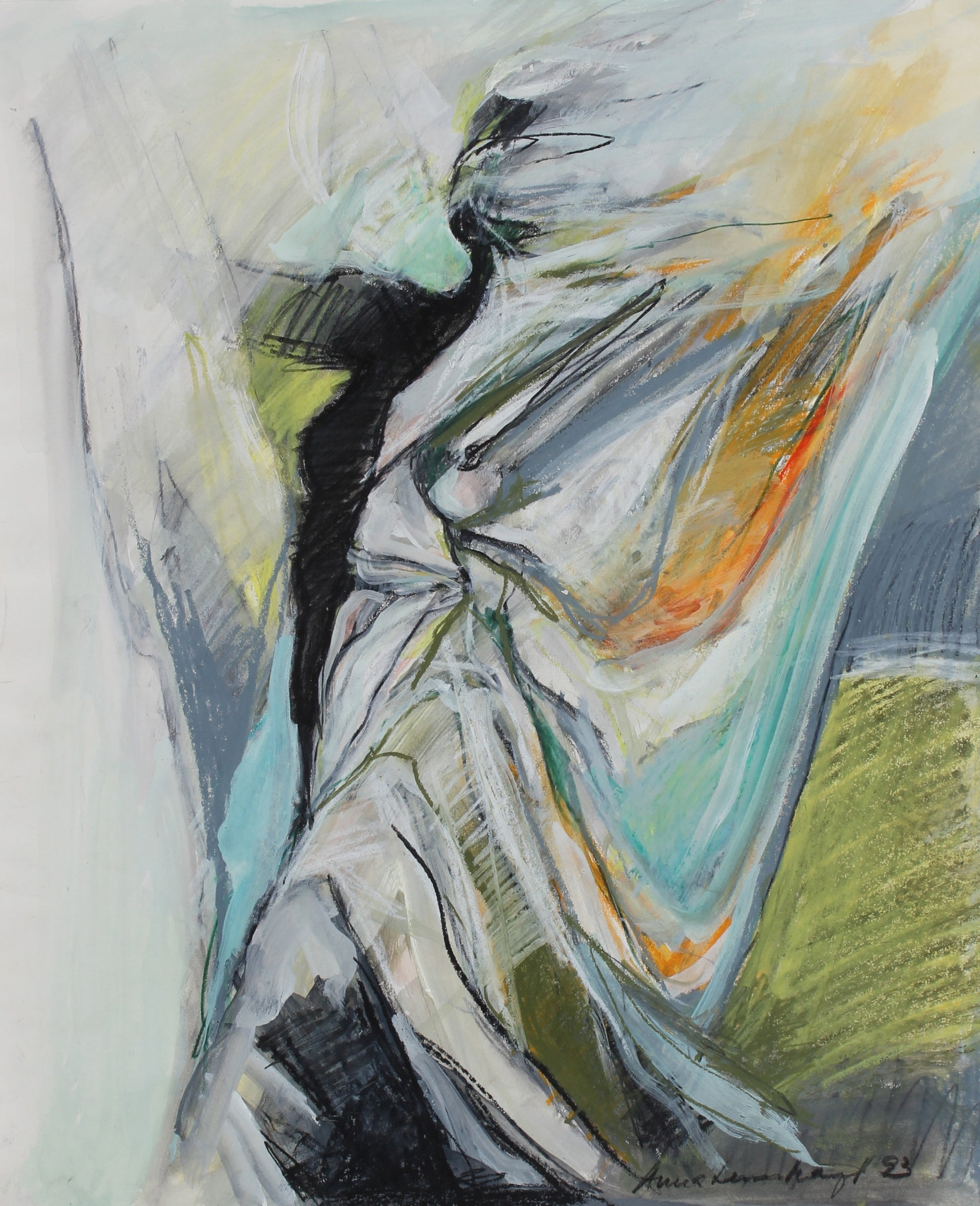 Figure & Storm Abstraction<br>1993 Mixed Media Drawing<br><br>#99155
