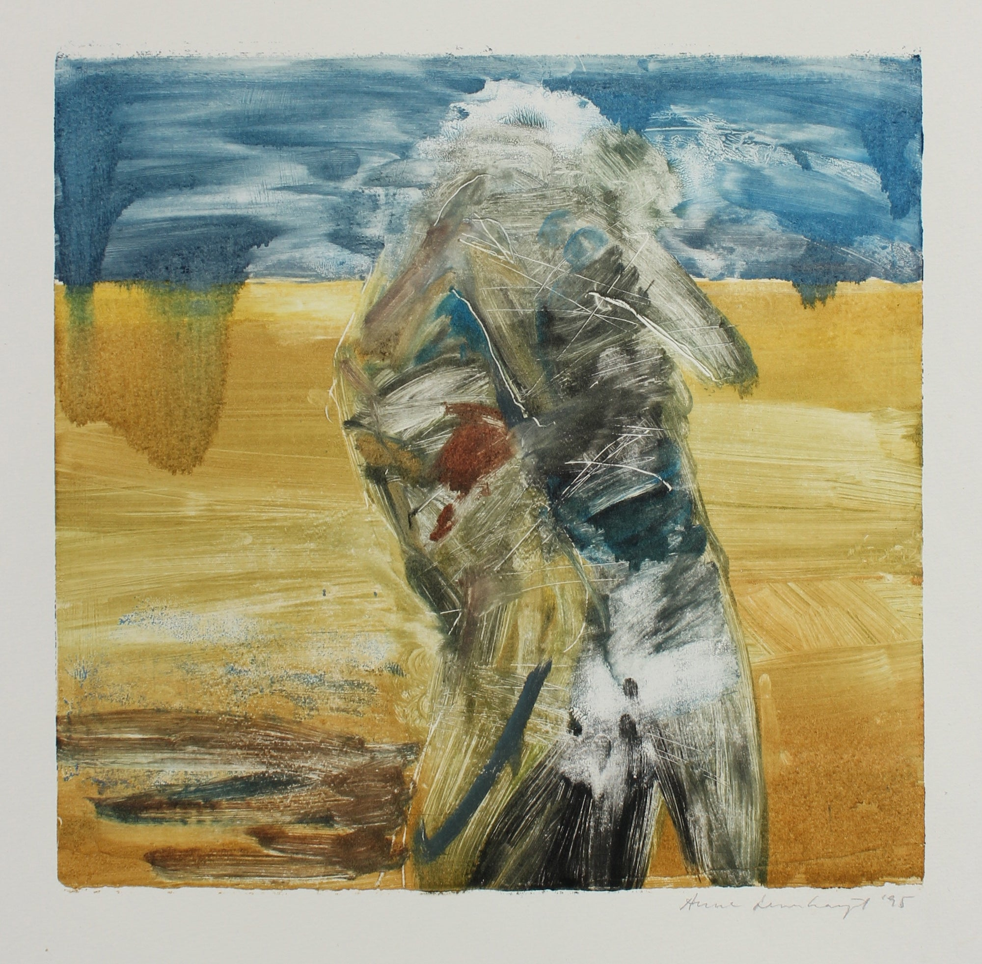 Figure & Horizon in Blue & Yellow<br>1995 Mixed Media Monotype<br><br>#99160