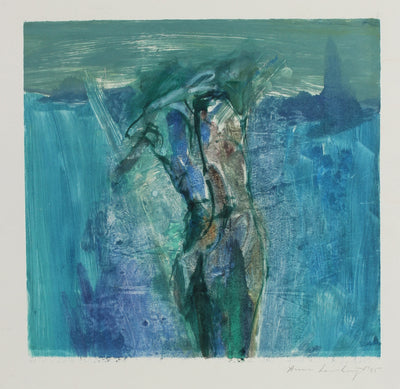 Abstracted Blue Figure Study<br>1995 Mixed Media Monotype<br><br>#99162