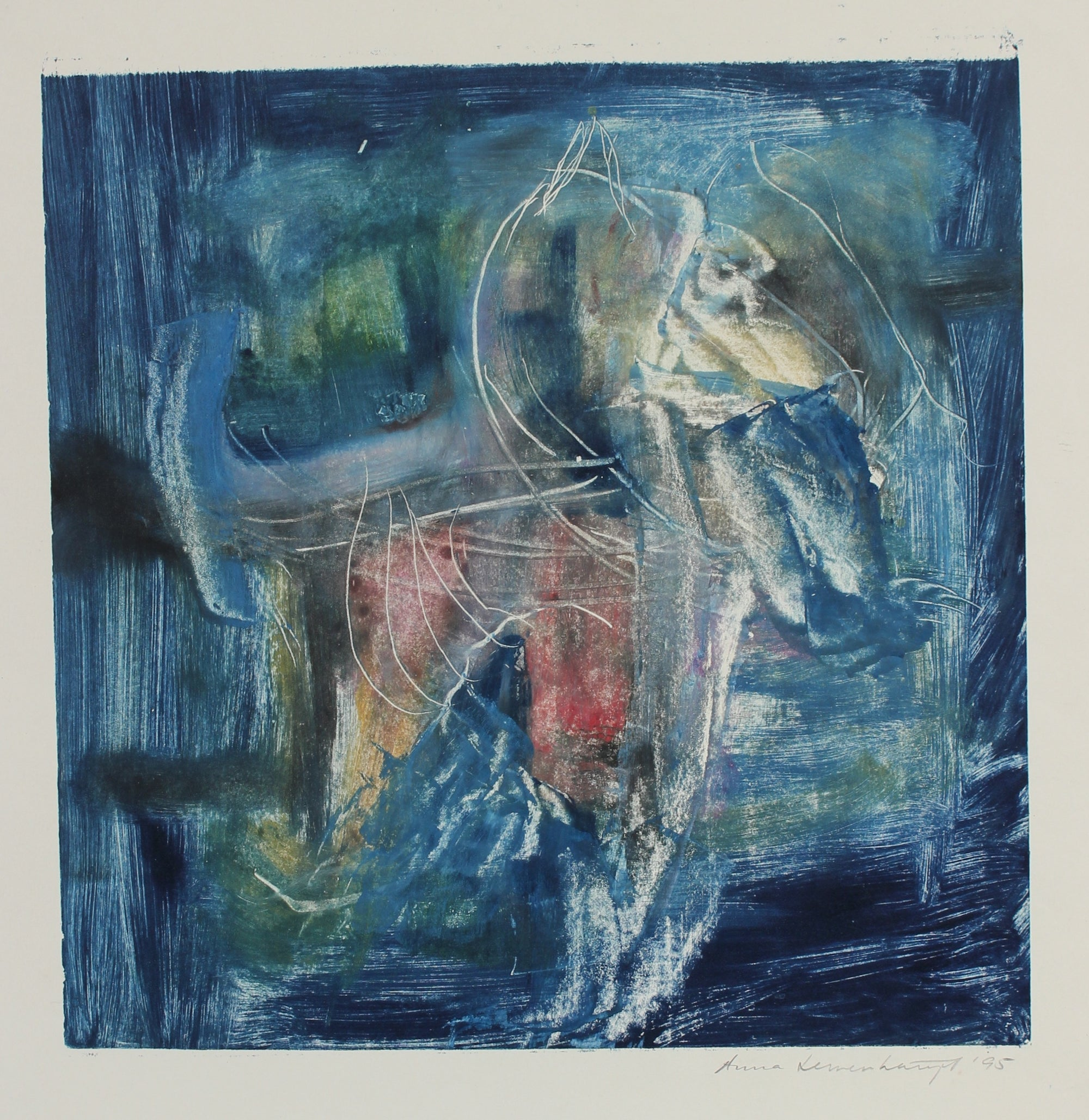 Blue Abstracted Color Study<br>1995 Mixed Media Monotype<br><br>#99166