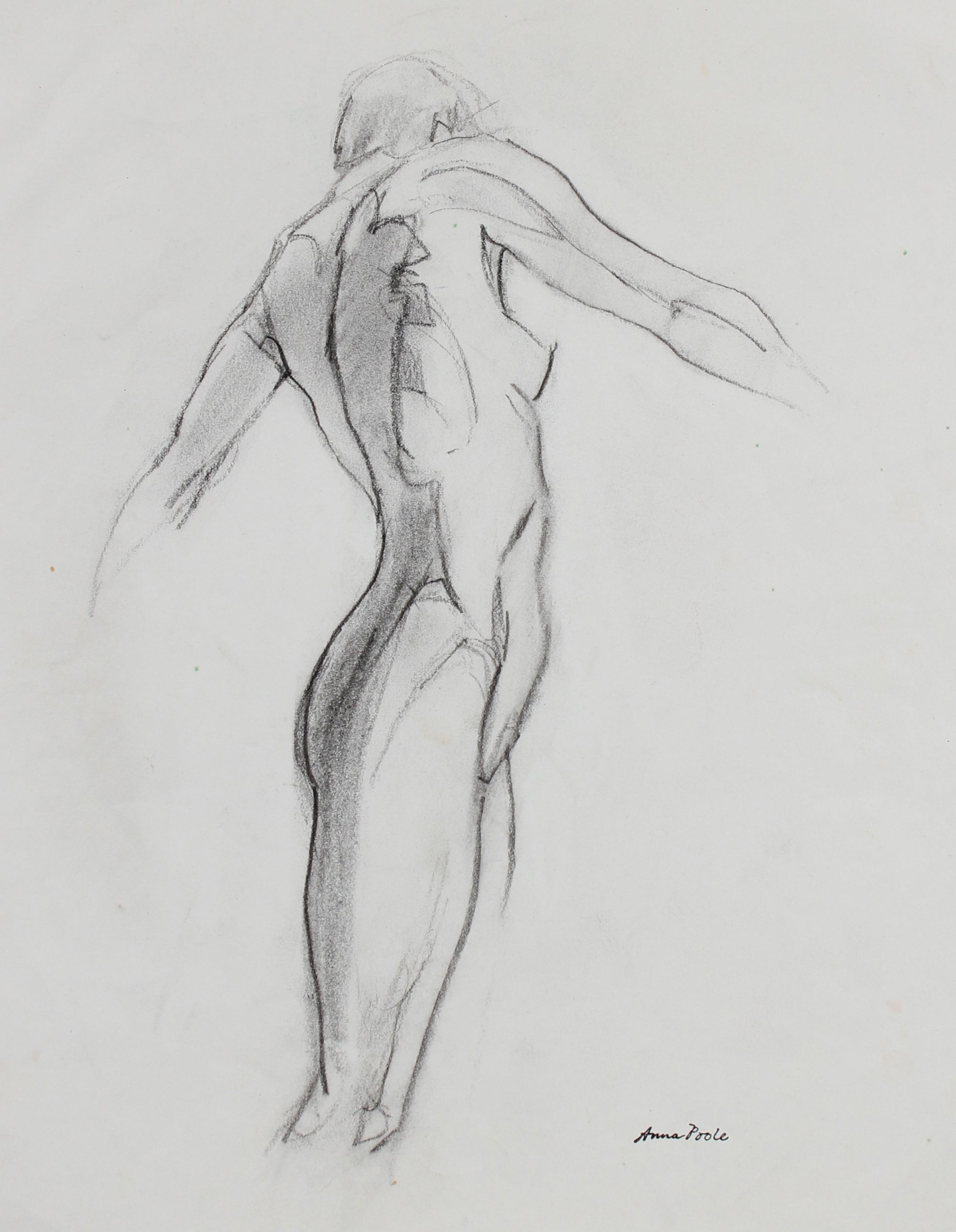 Twisted Figure Study<br>Late 20th Century Charcoal<br><br>#99167
