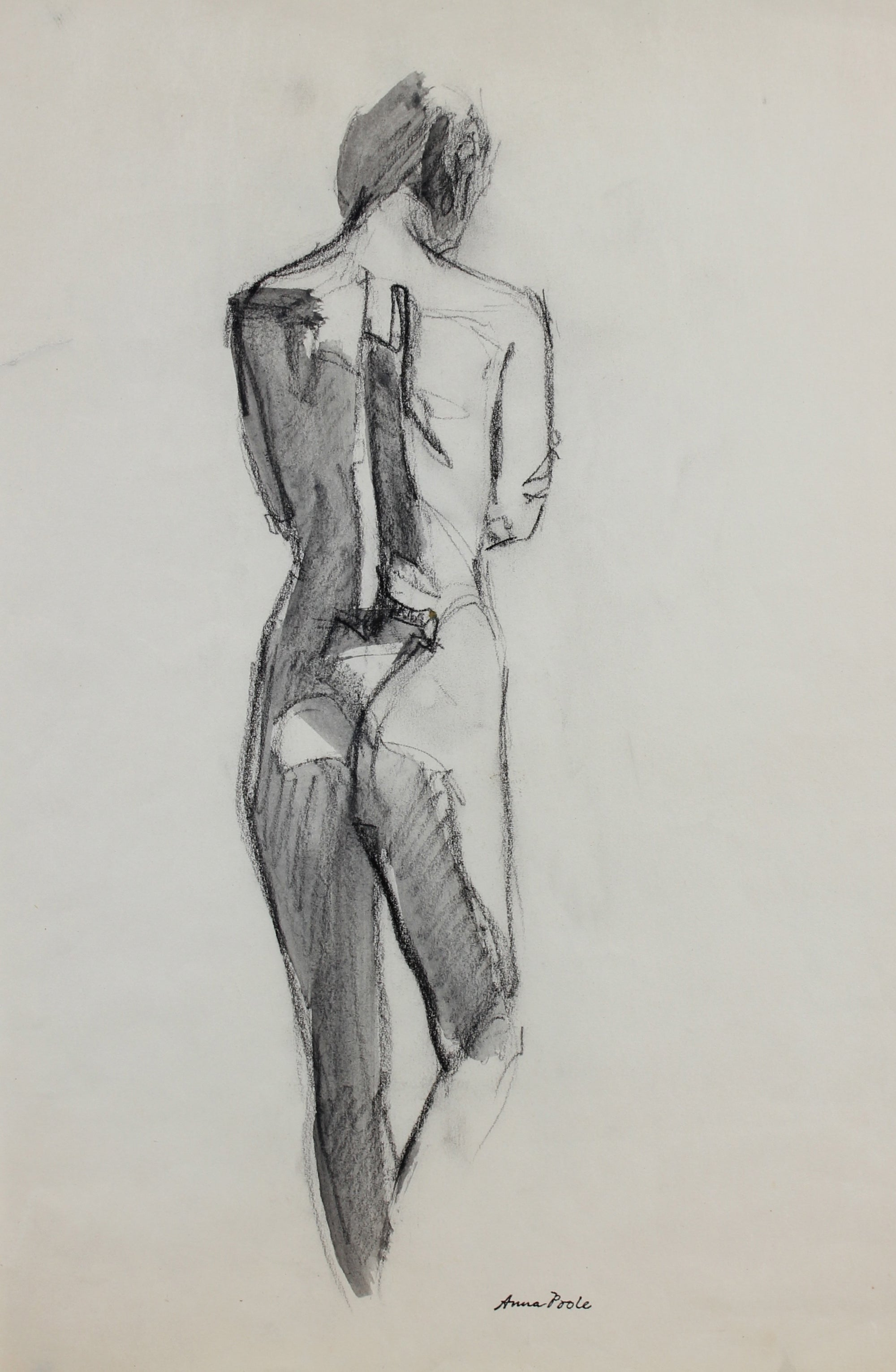 Anatomical Study of the Back<br>Late 20th Century Ink Wash & Charcoal<br><br>#99168