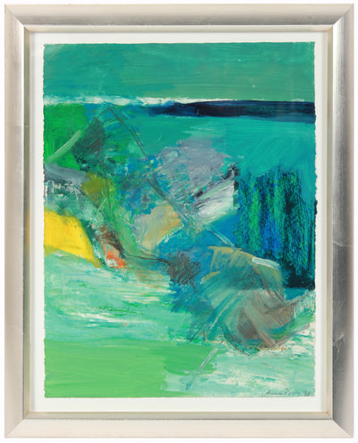 Blue & Green Color Block Abstract <br>1998 Oil, Pastel & Graphite <br><br>#99175