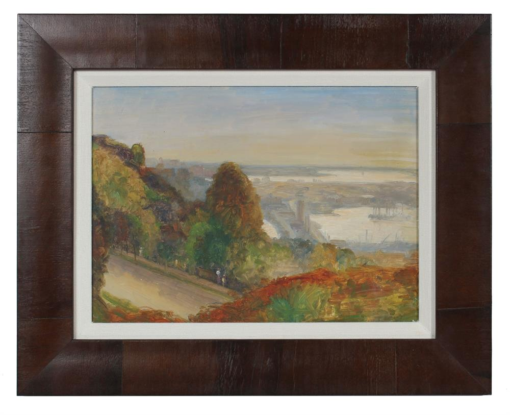 Seattle Coastal View<br>1900-30s Oil<br><br>#99405