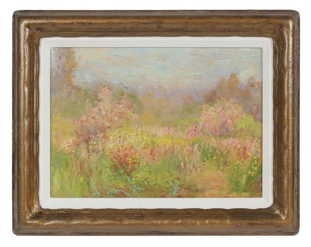 Rustic Wildflowers & Field<br>1900-30s Oil<br><br>#99410