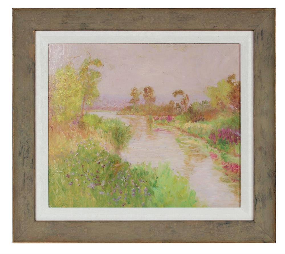 Seattle River Scene<br>1900-30s Oil<br><br>#99413
