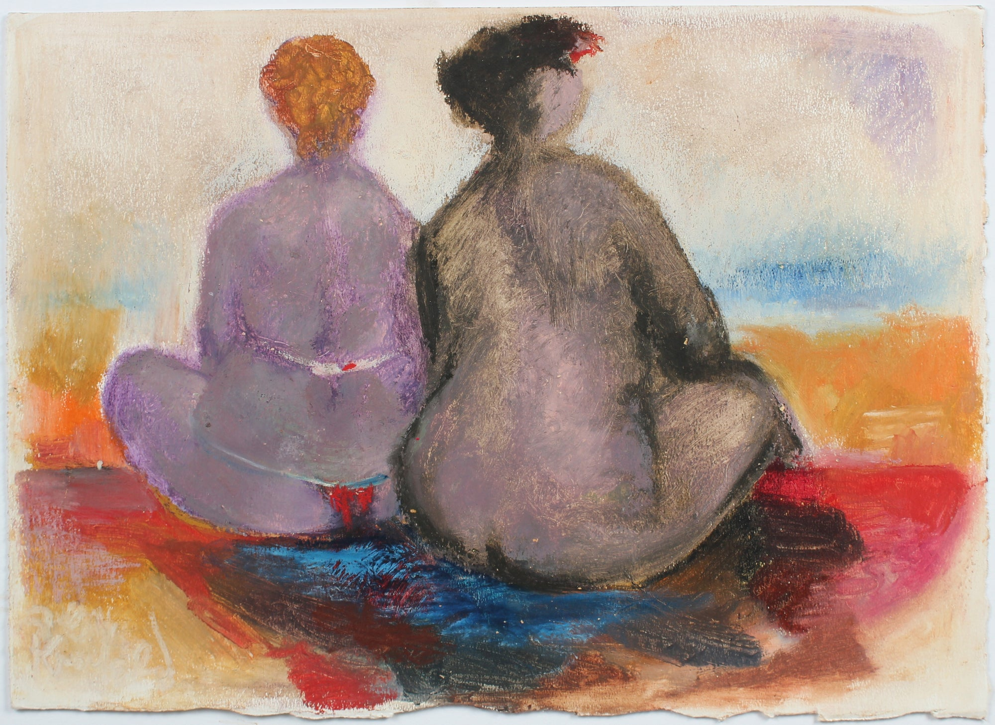 Colorful Beach Bathers <br>1988 Oil Pastel <br><br>#99434