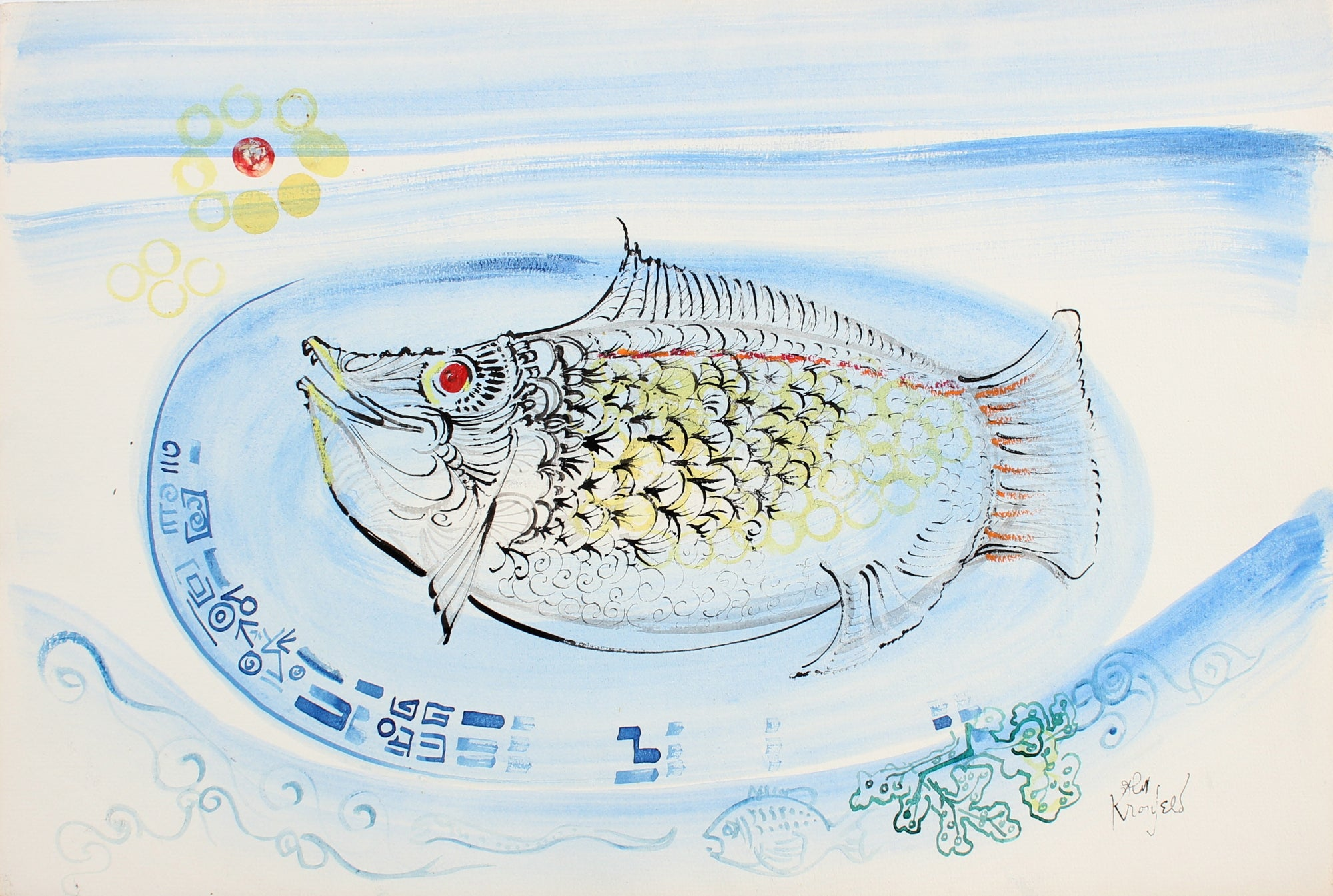 Playful Fish Dinner<br>1998 Watercolor & Ink<br><br>#99435