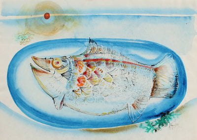 Salmon Dinner <br>1998 Watercolor & Ink <br><br>#99437