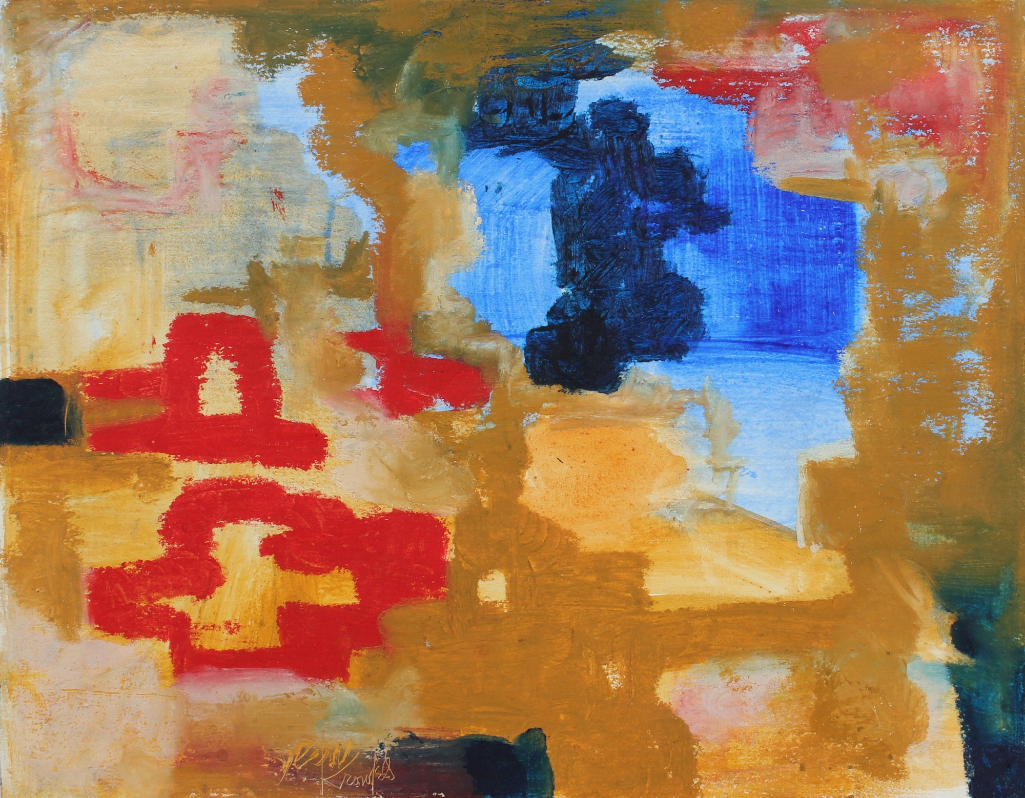 Warm Abstracted Color Field <br>1970s Acrylic & Gouache <br><br>#99440