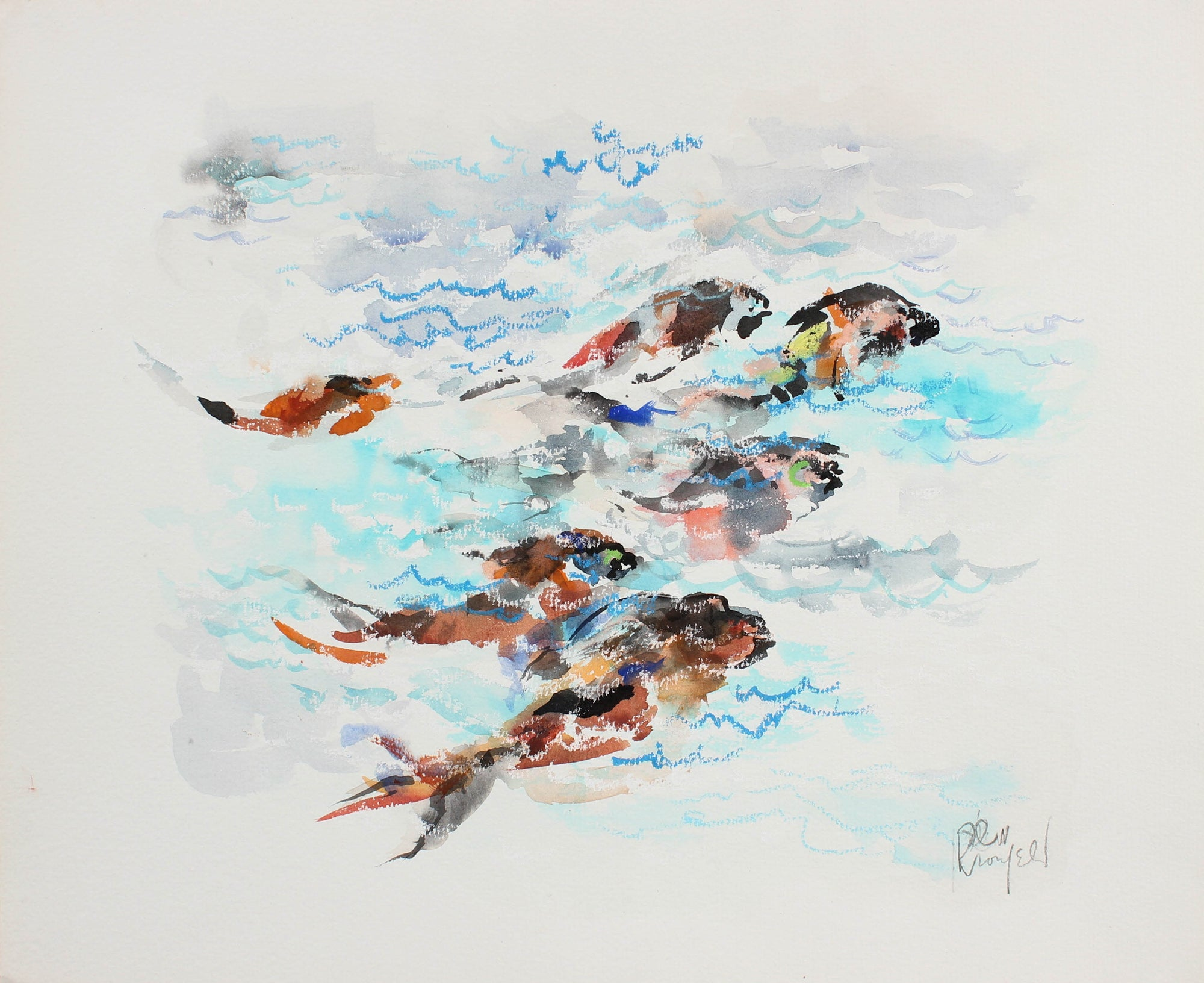 Colorful Fish Swimming <br>1970-90s Watercolor & Pastel <br><br>#99442