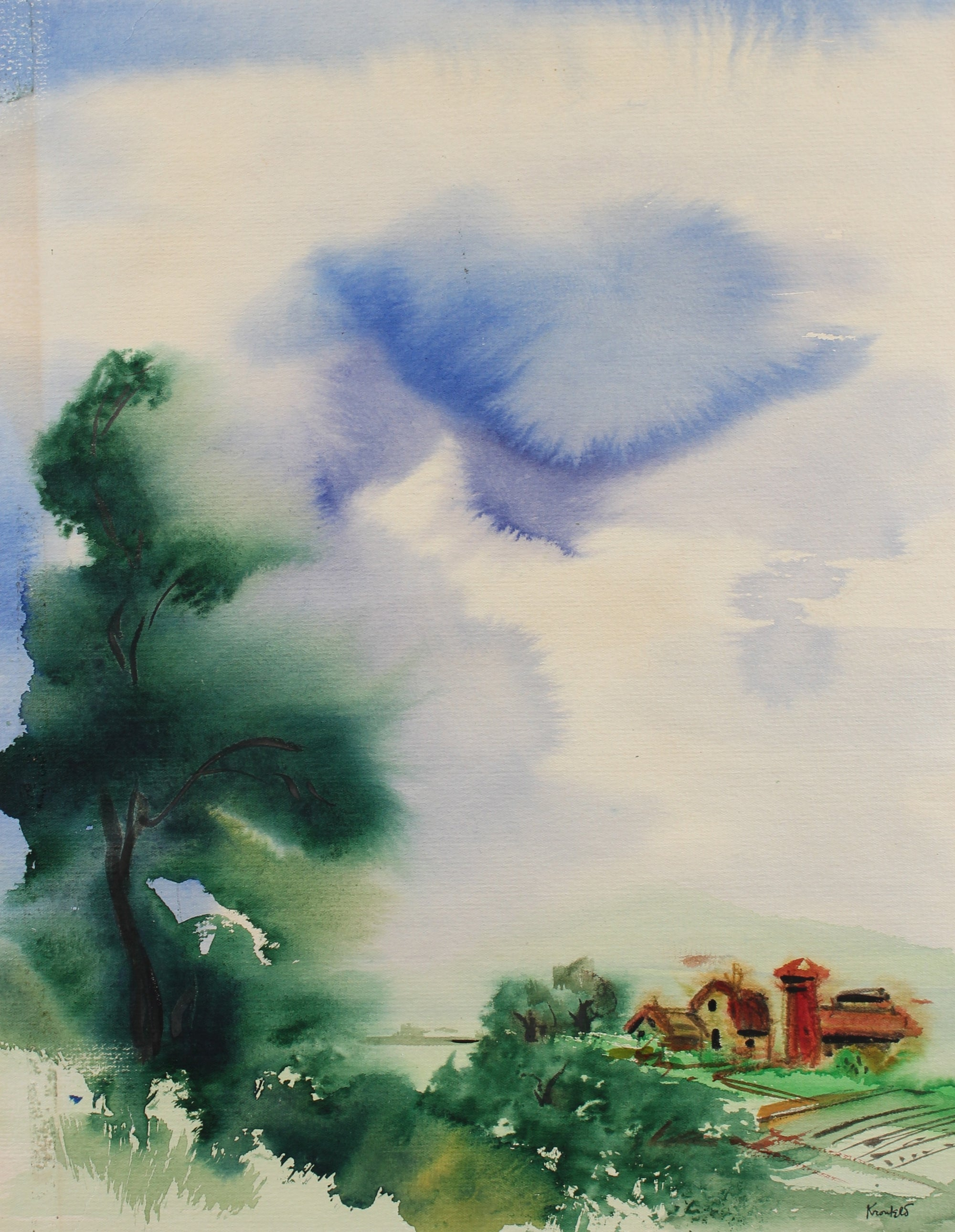 Dreamy Abstracted Sky & Landscape <br>1940s Watercolor <br><br>#99448