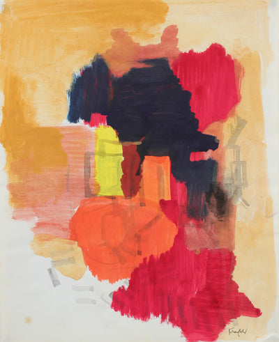 Warm-Toned Abstracted Color Study <br>20th Century Gouache <br><br>#99449
