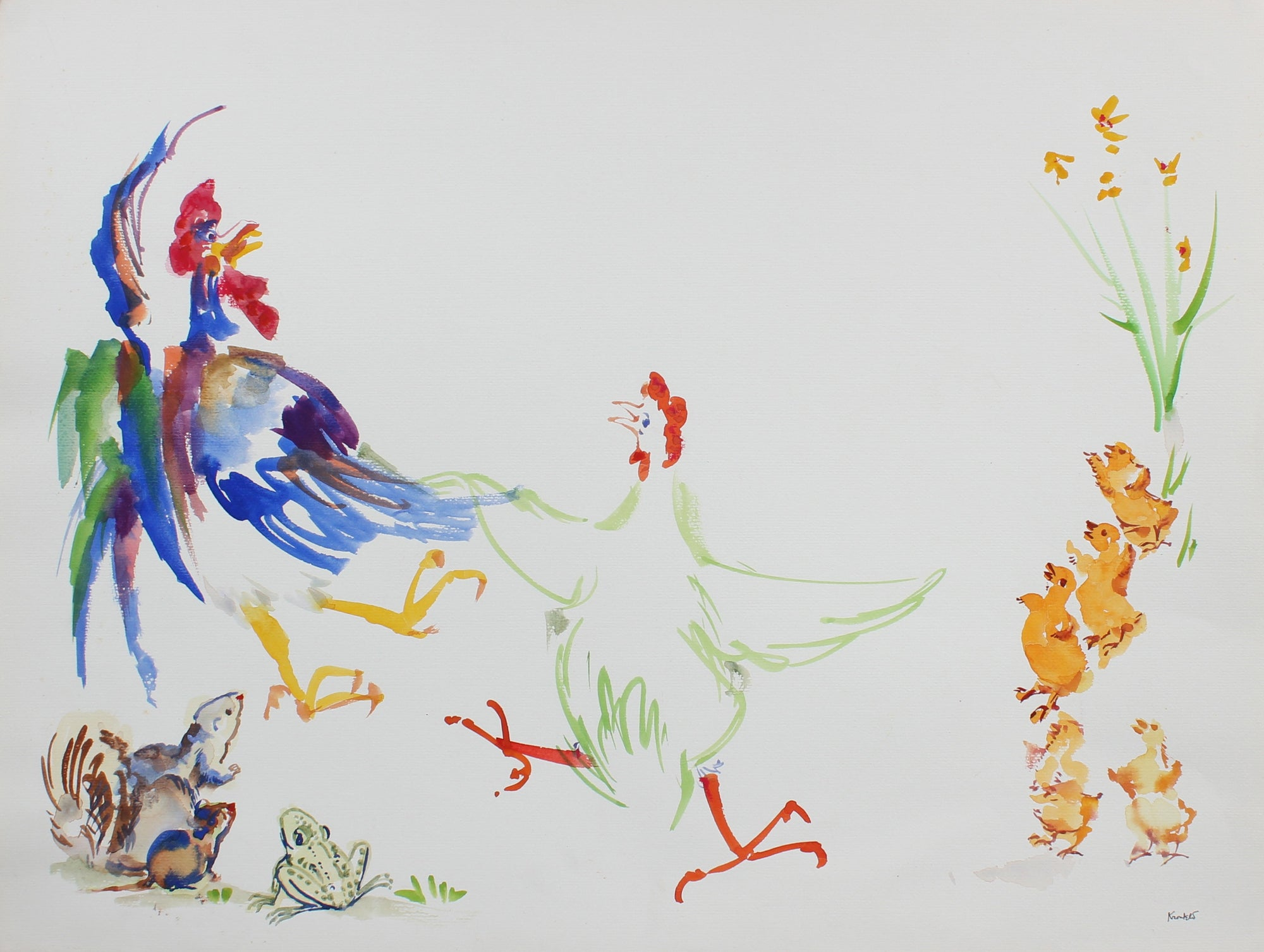 Colorful Performance of a Chicken and Rooster <br>1970s Watercolor<br><br>#99457