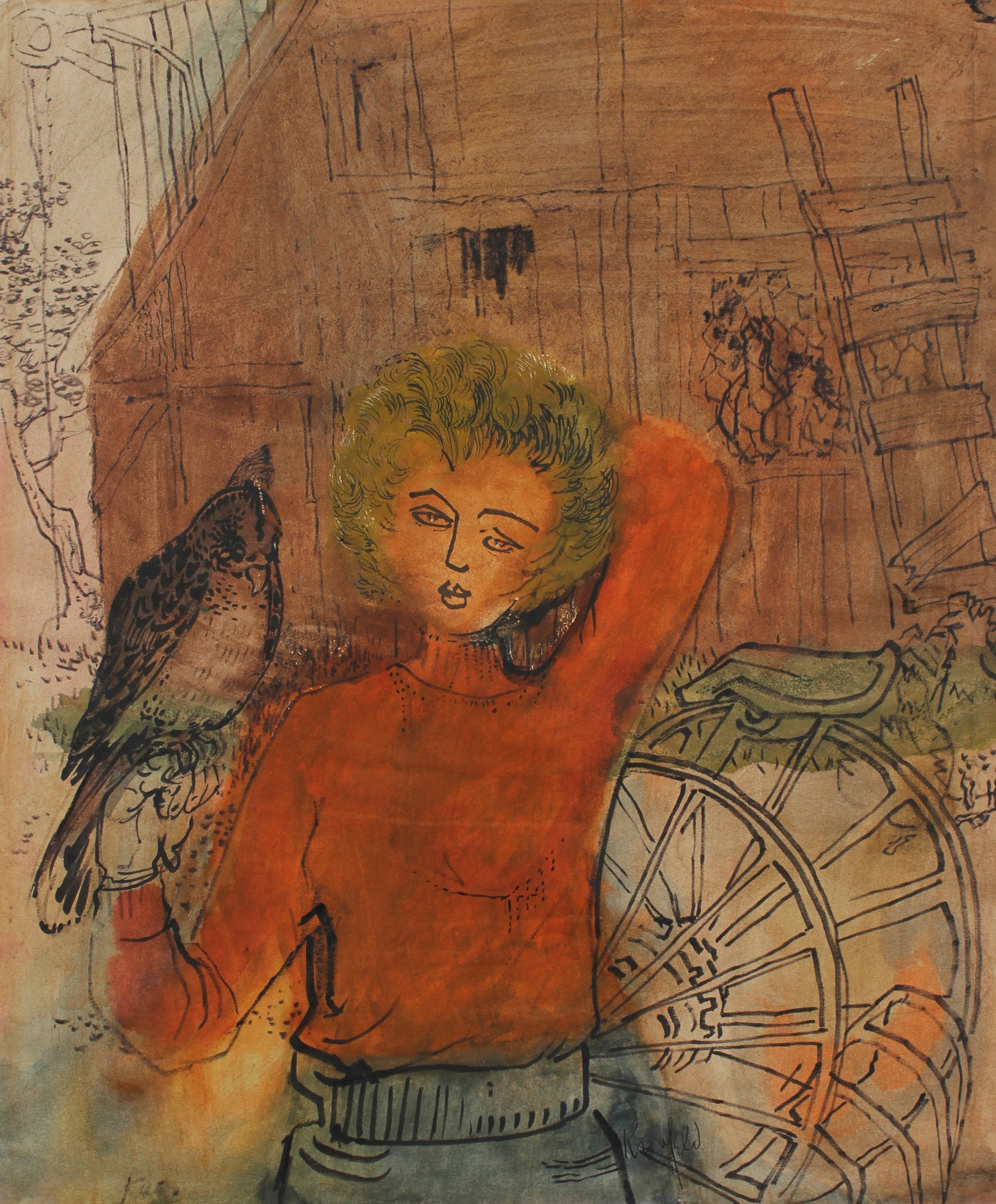 Boy & Hawk <br>1965 Ink & Gouache <br><br>#99460