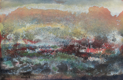 Cloudy Abstracted Skyline<br>1960s Sand & Gouache<br><br>#99466