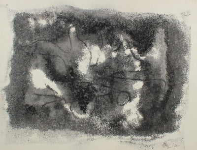 Monochrome Mixed Media Abstract <br>1960s Sand & Ink <br><br>#99468