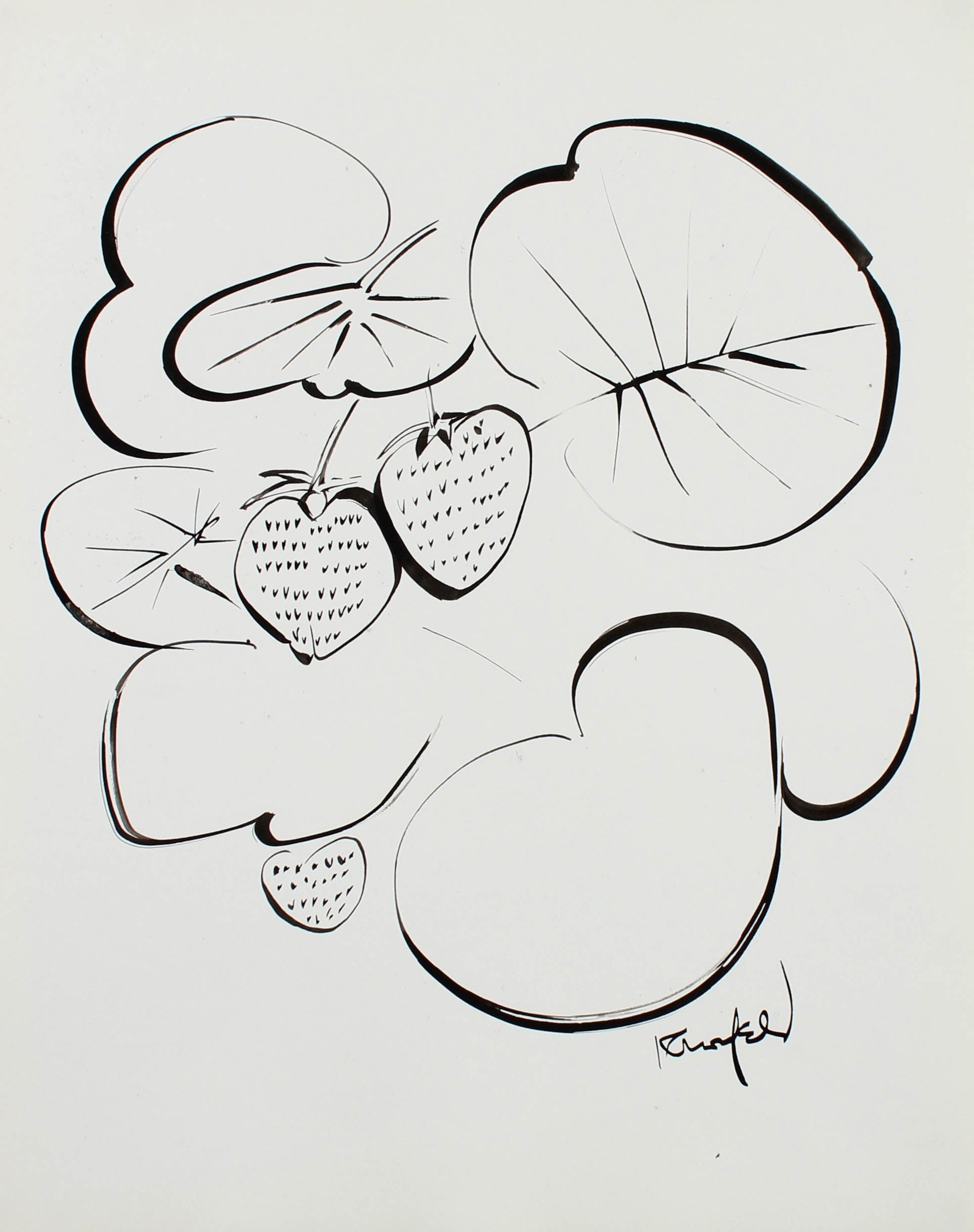 Modernist Strawberry Illustration <br>1980s Ink <br><br>#99472