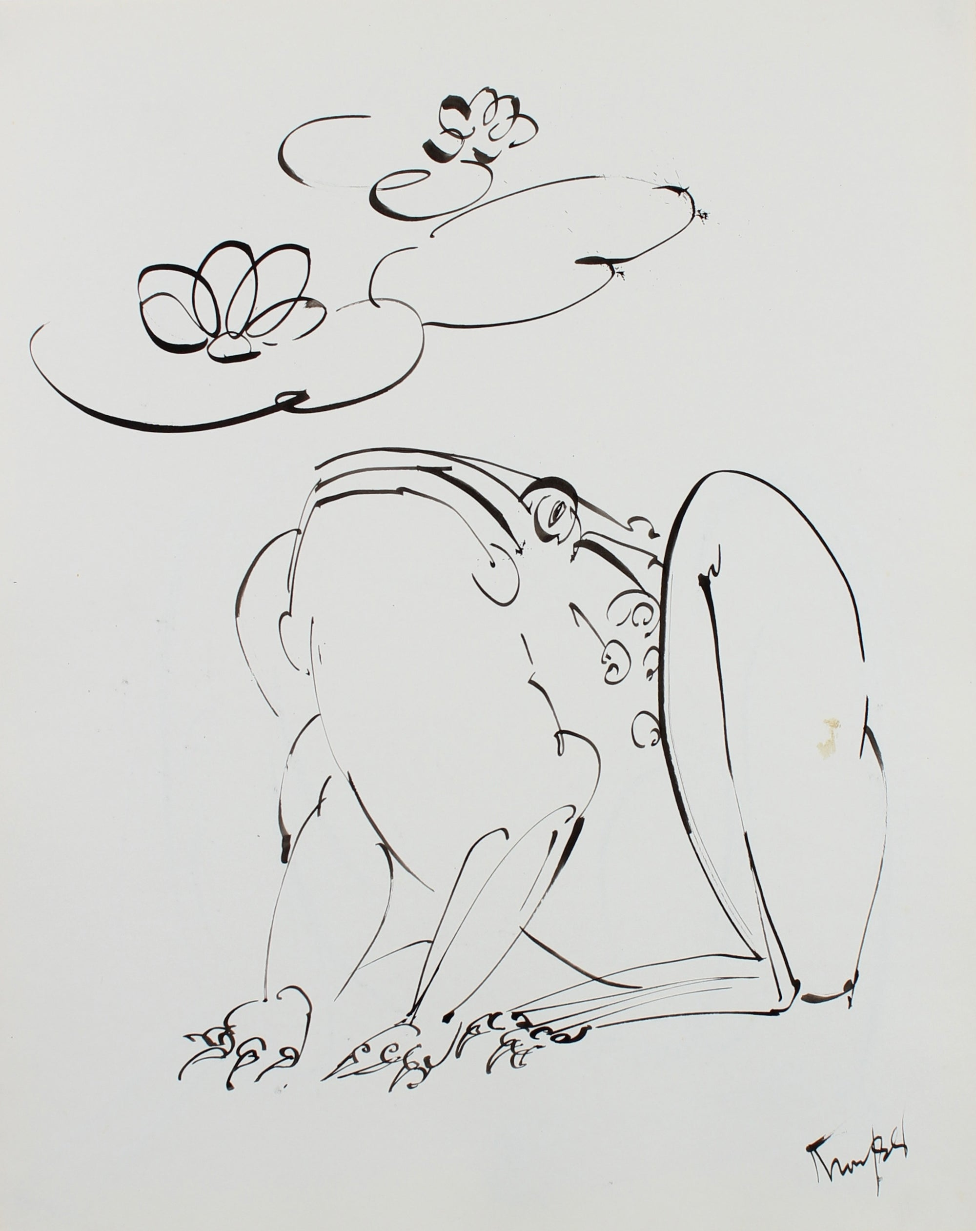 Curious Frog Drawing<br>1980s Ink <br><br>#99475