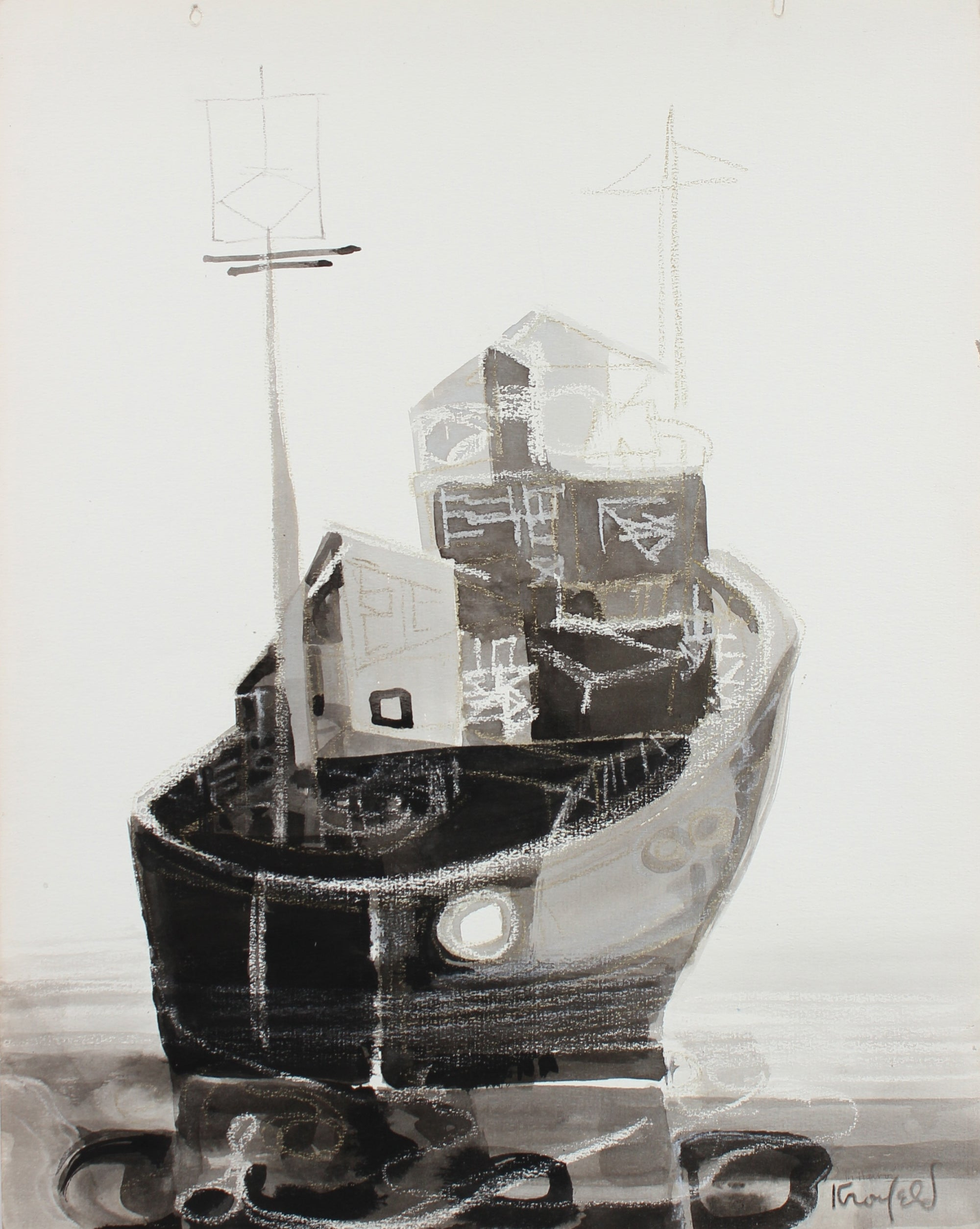 Ship at Harbor<br>1960-80s Oil Pastel & Ink<br><br>#99483