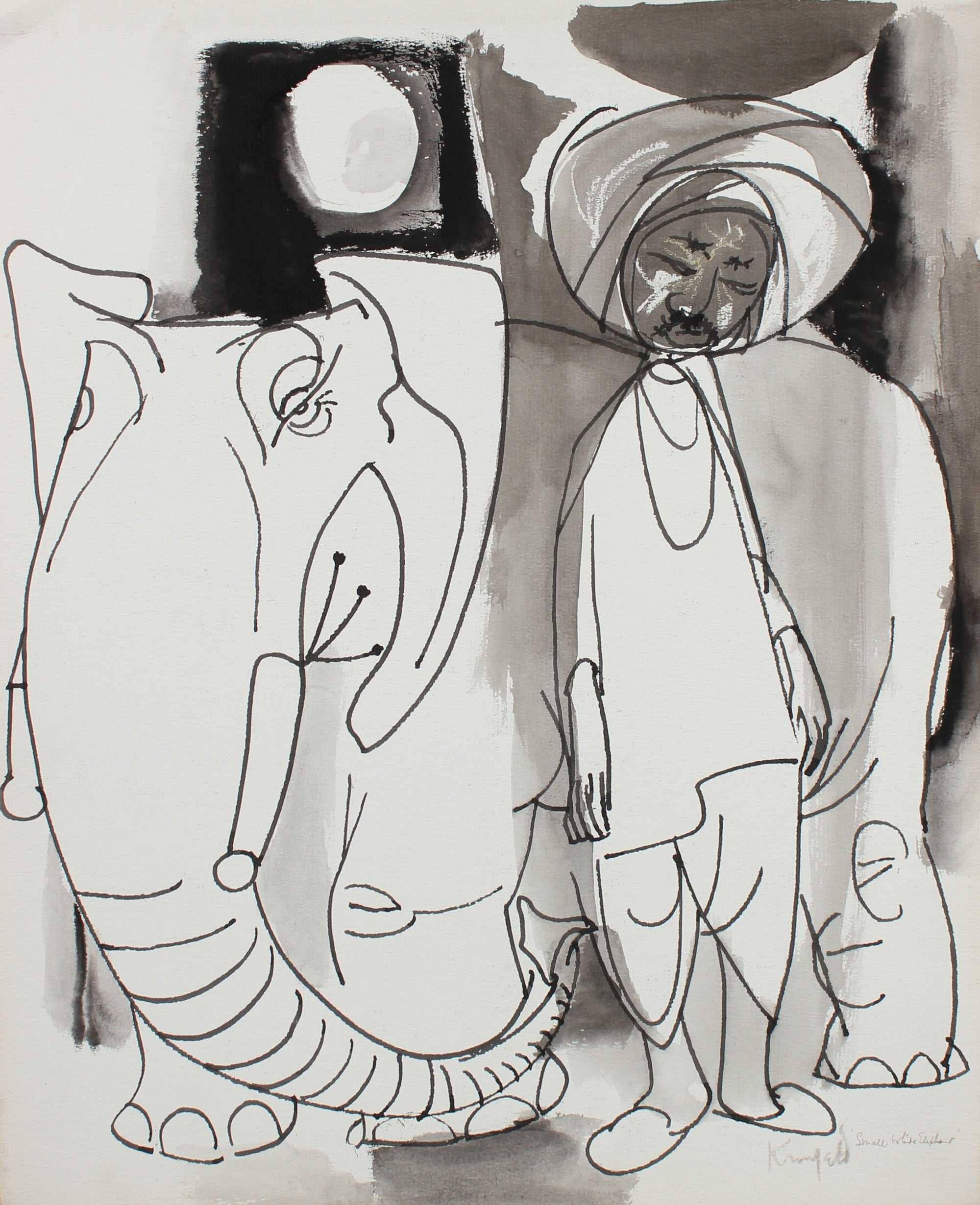 <i>Small White Elephant</i> <br>1960-80s Oil Pastel & Ink <br><br>#99493