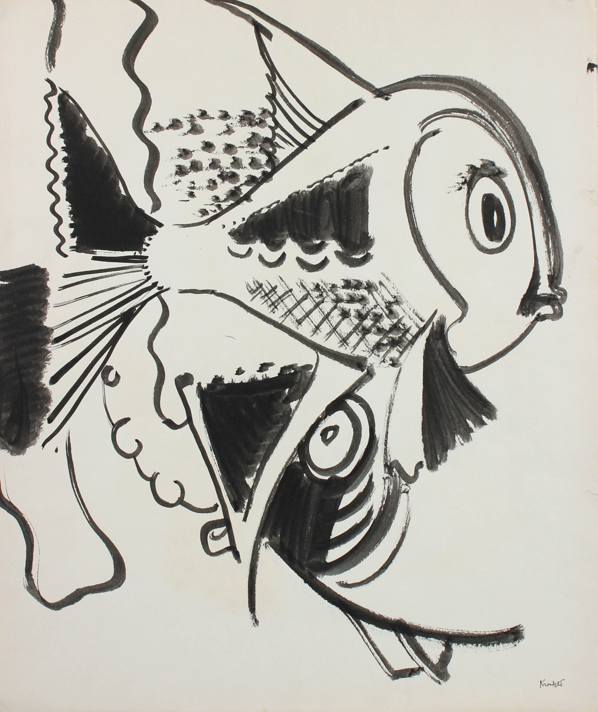Playful Depiction of Fish <br>1960-80s Ink <br><br>#99507