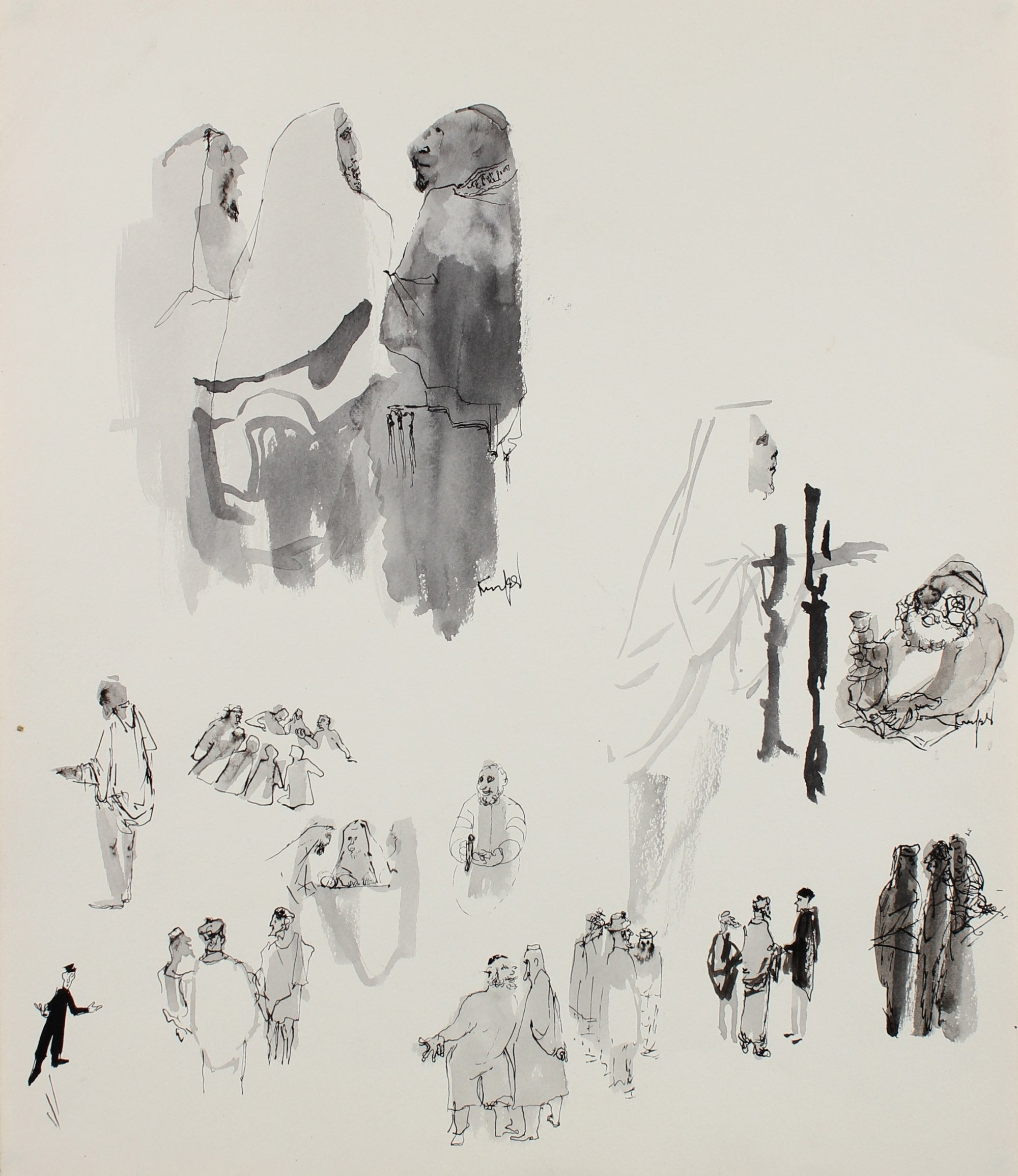 Monochrome Figure Studies <br>1960-70s Ink <br><br>#99517