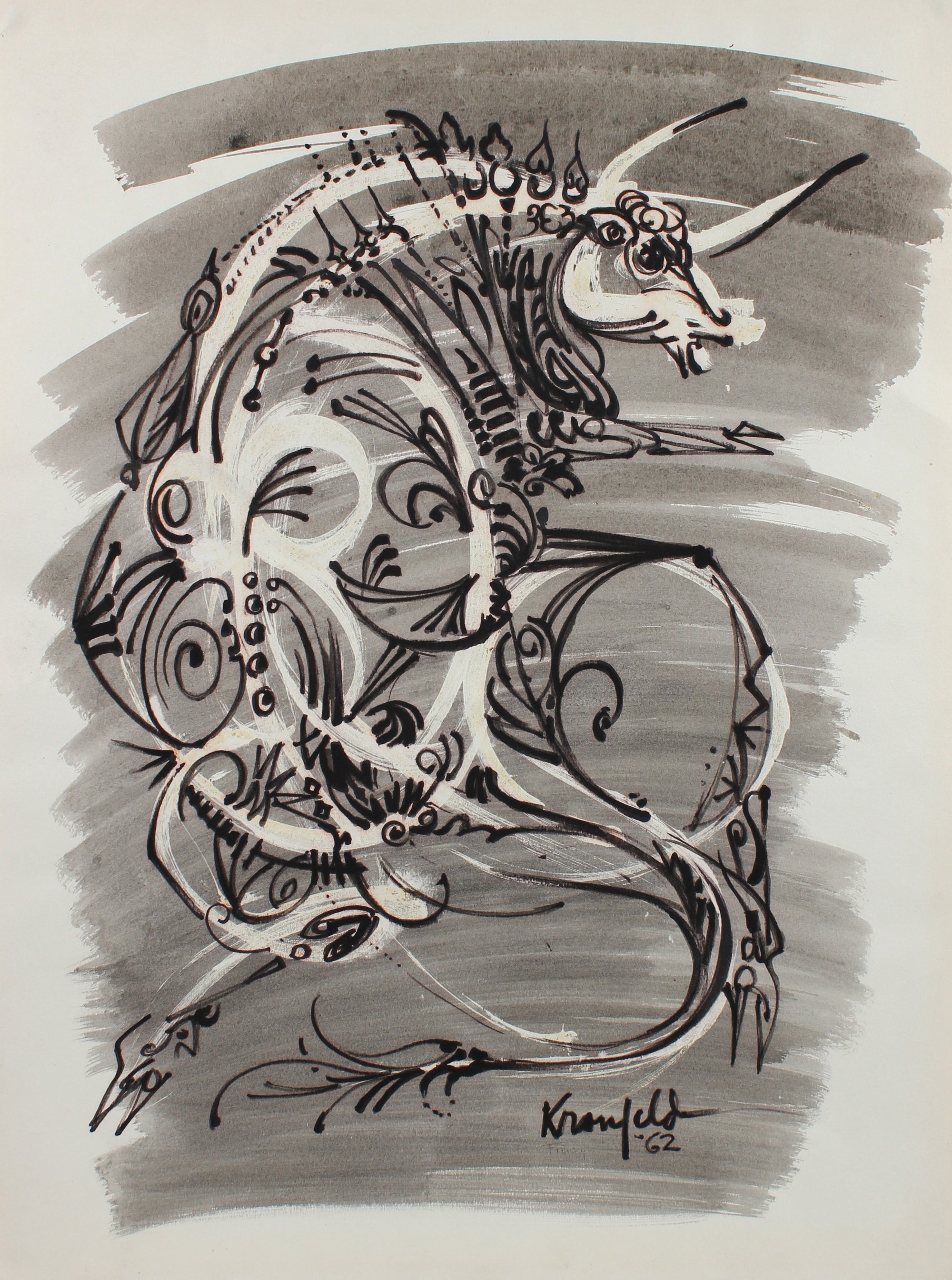 Decorative Surreal Bull Drawing <br>1964 Ink & Gouache <br><br>#99520