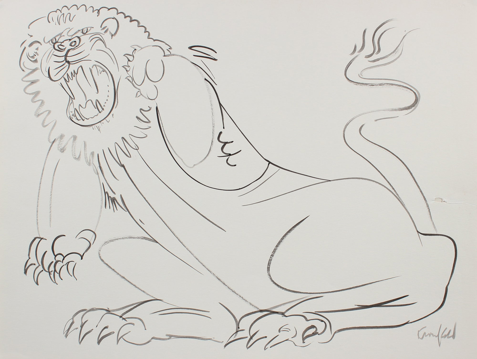 Calligraphic Lion Drawing <br>1980s Ink <br><br>#99524