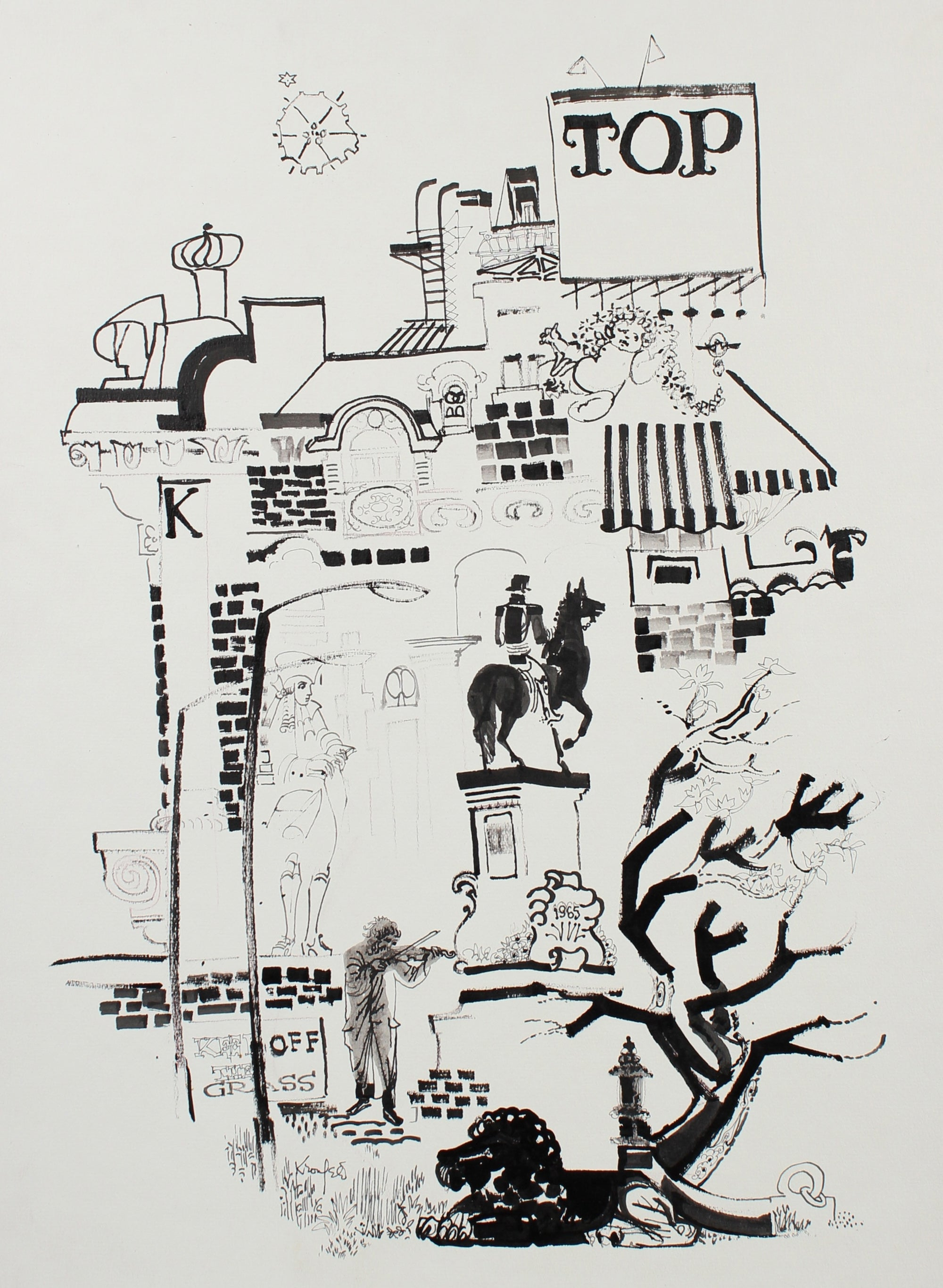 TOP City Scene <br>1965 Ink Drawing <br><br>#99539