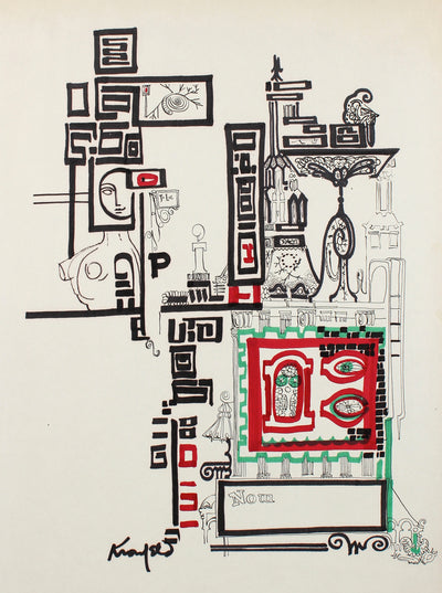 Architectural Fantasy Drawing<br>1960s Ink<br><br>#99540