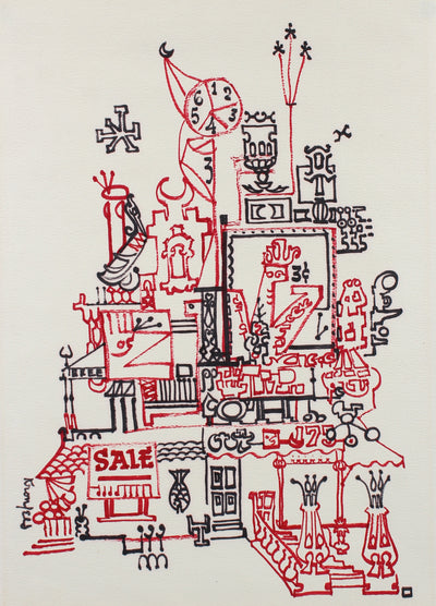 Red & Black Fantastical Architecture Drawing<br>1960s Ink<br><br>#99543