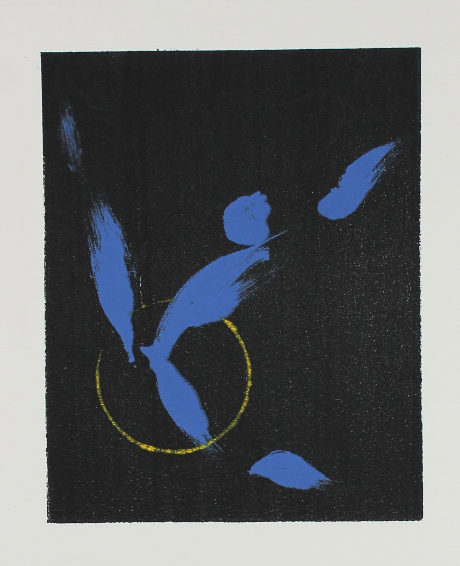 Abstract Print in Black Blue and Yellow<br>1990-2000s Monotype <br><br>#99633