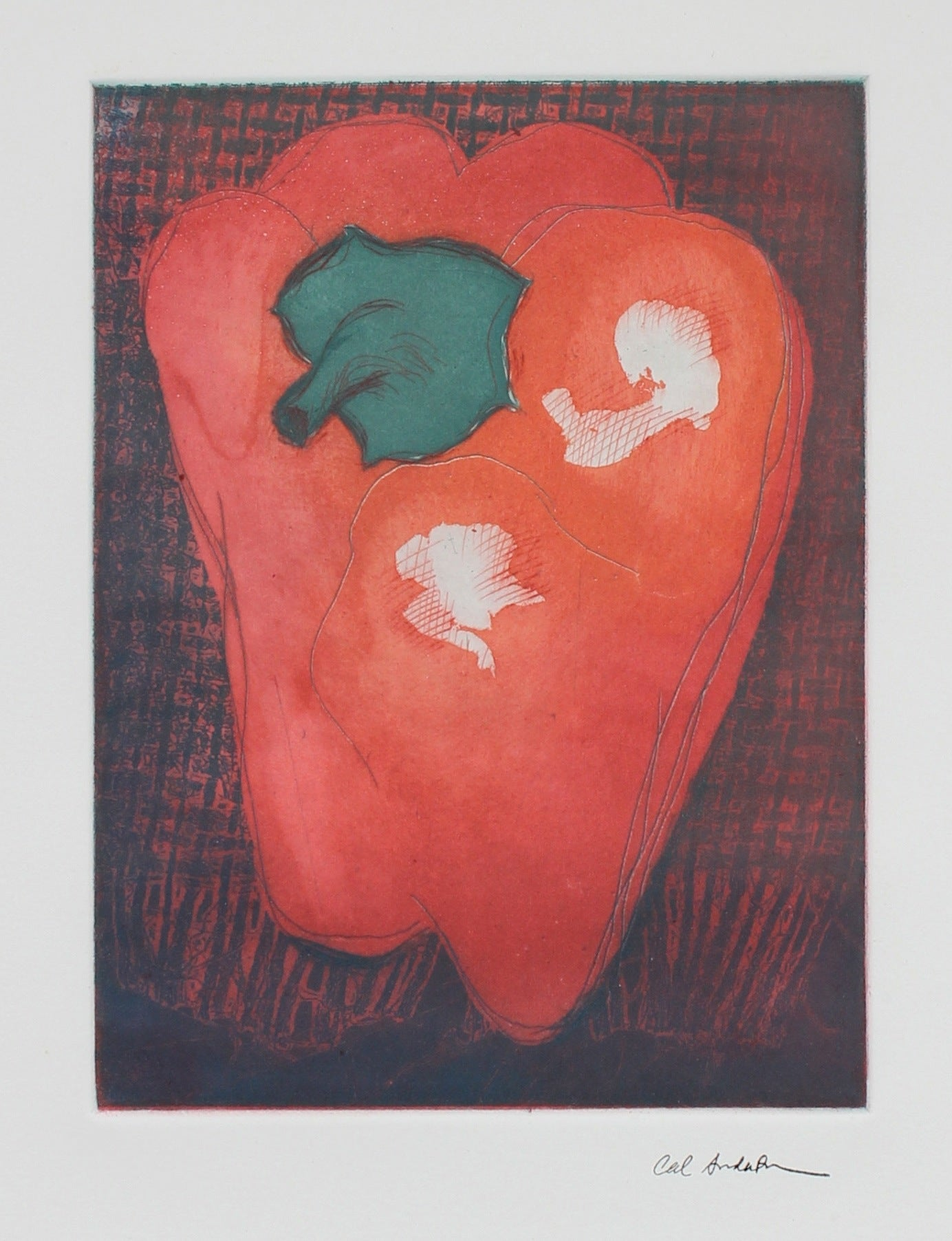 Bell Pepper Still Life Etching<br>Late 20th - Early 21st Century<br><br>#99672