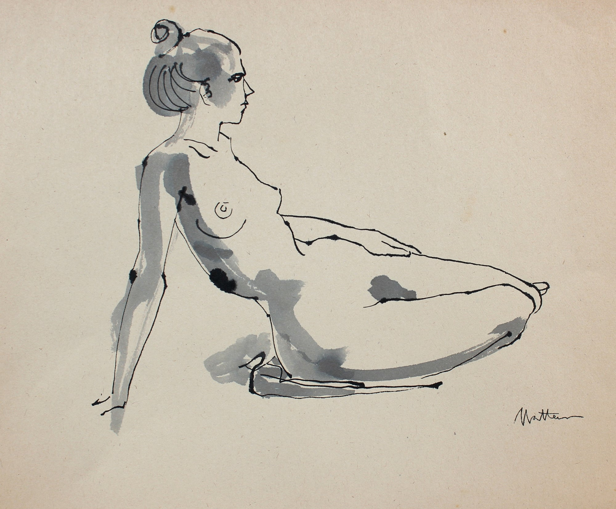 Recling Nude Female Figure Study <br>20th Century Ink <br><br>#99725