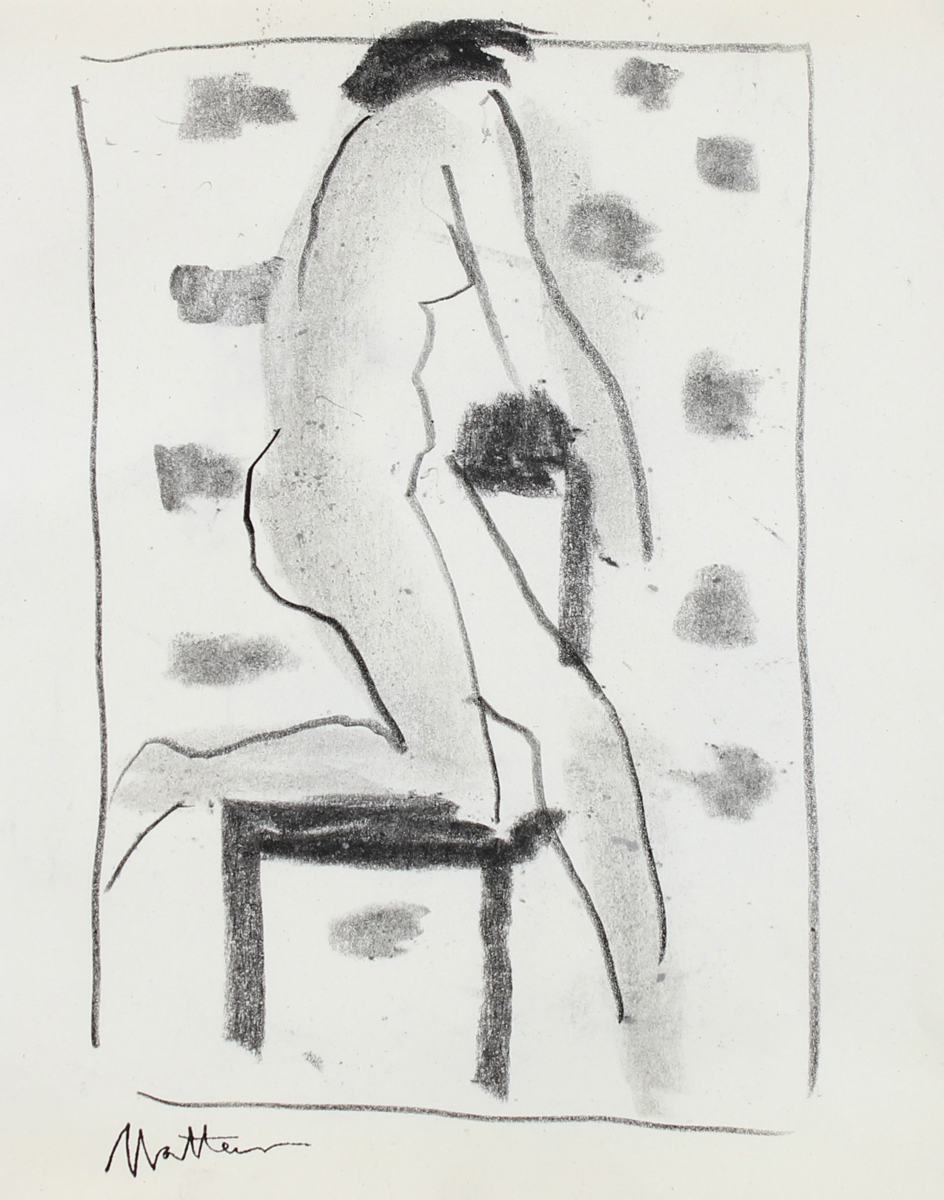 Model with Chair Figure Study <br>20th Century Charcoal <br><br>#99747