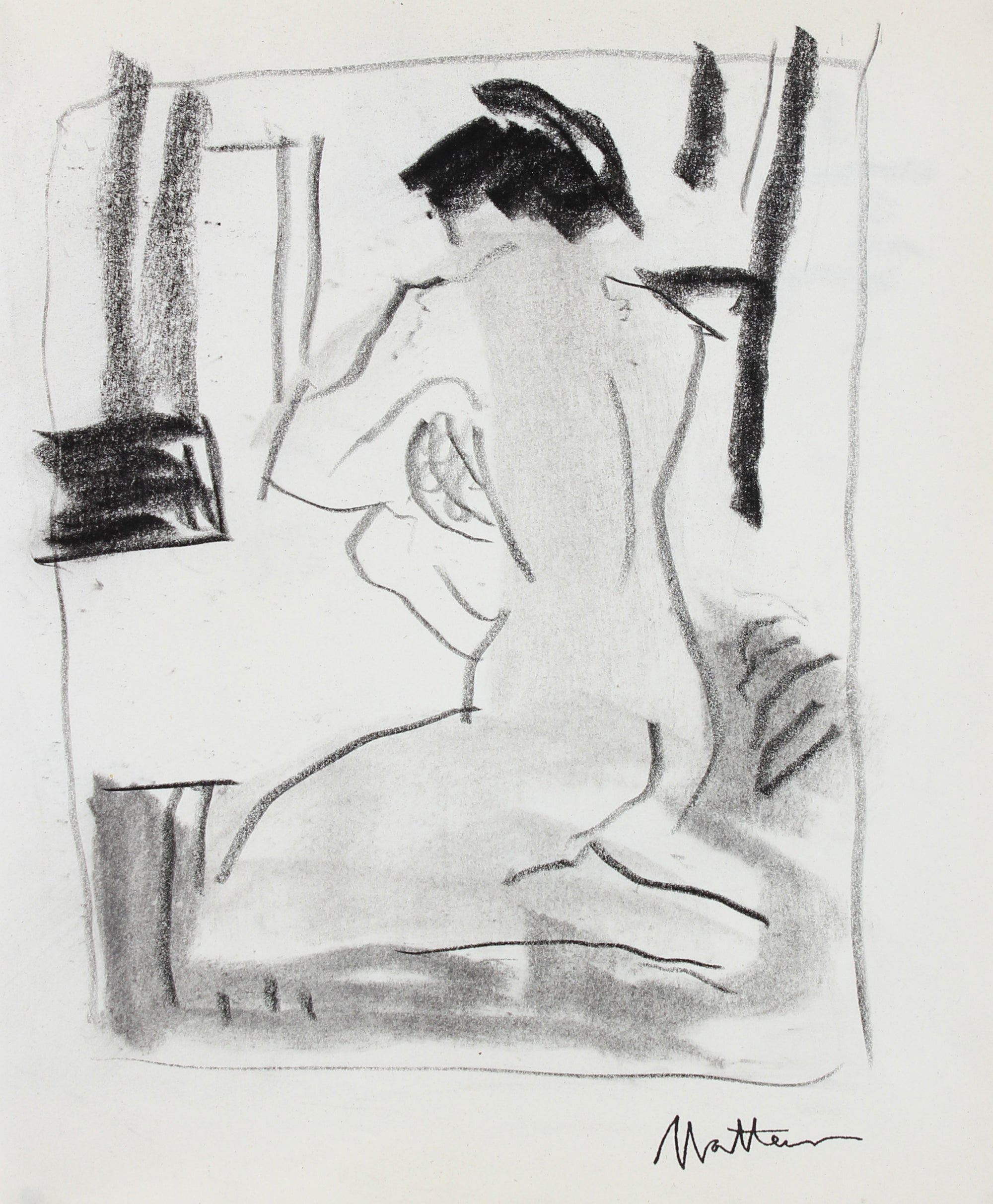 Seated Nude Figure Study <br>20th Century Charcoal <br><br>#99748