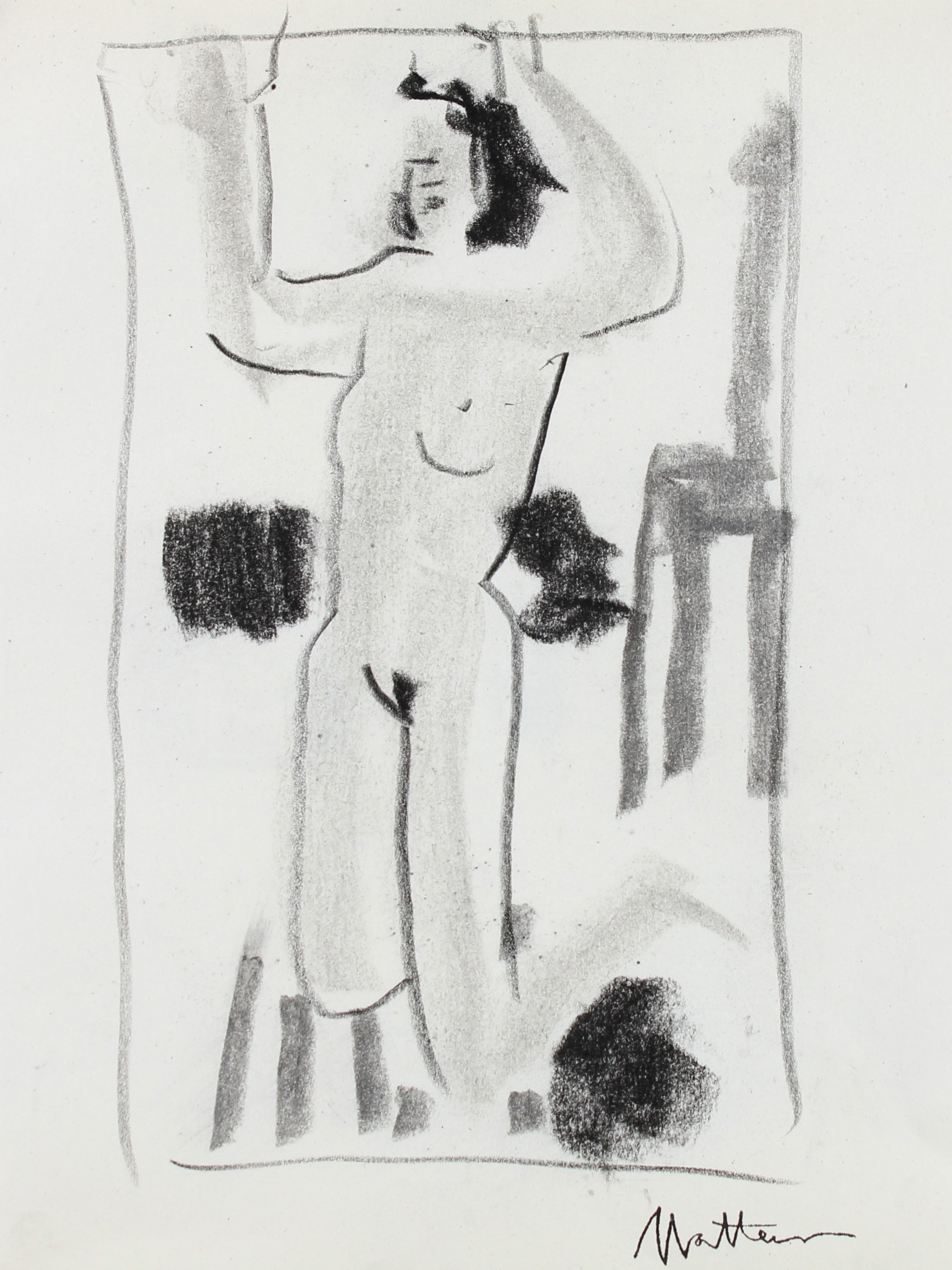 Reaching Nude <br>20th Century Charcoal Figure Study <br><br>#99749