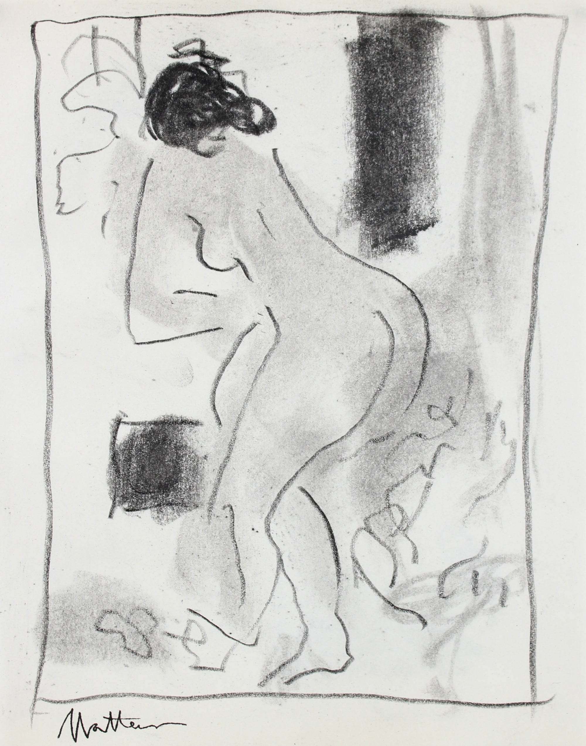 Abstracted Nude Figure<br>20th Century Charcoal <br><br>#99750