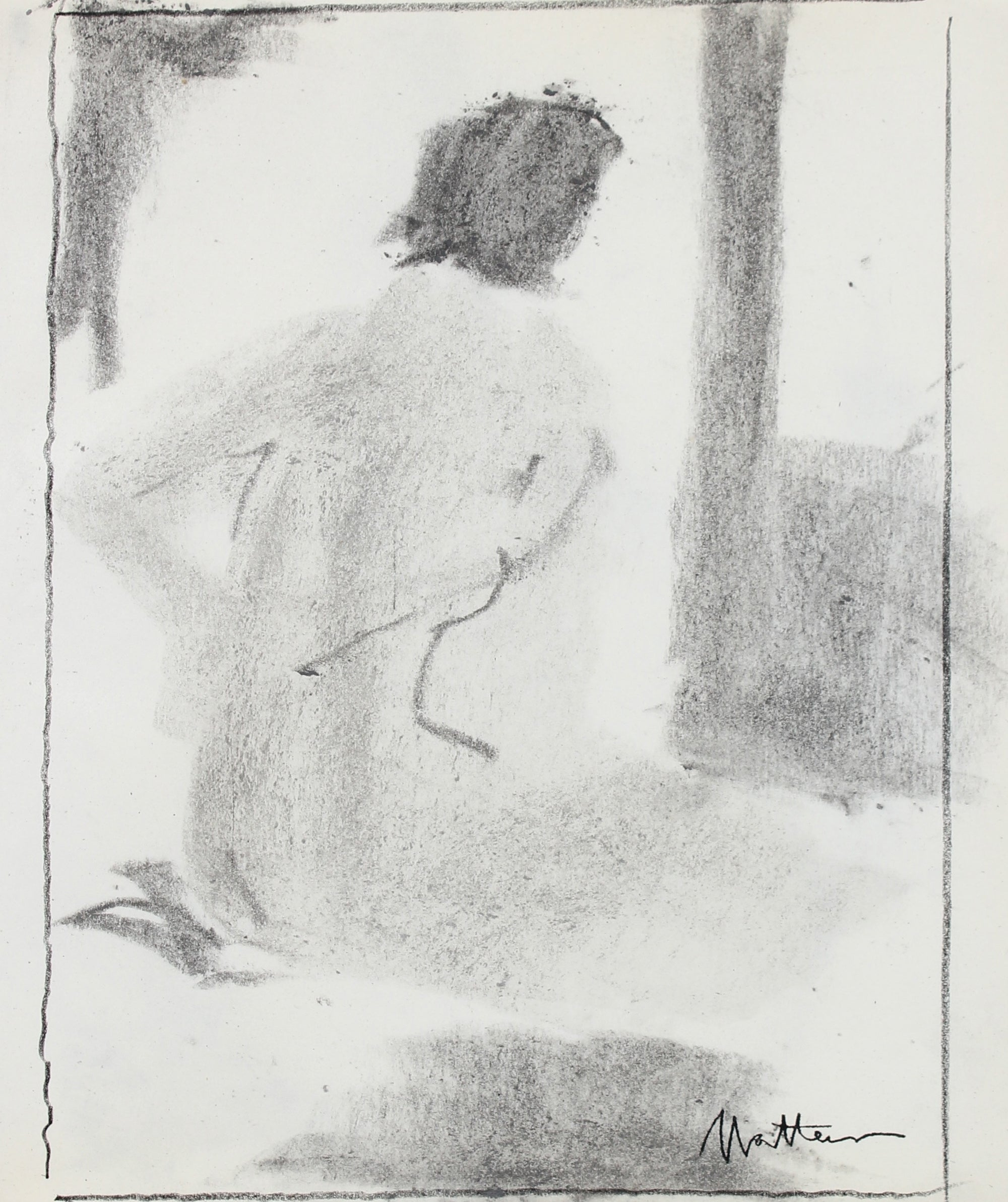 Monochromatic Abstracted Nude <br>20th Century Charcoal <br><br>#99754