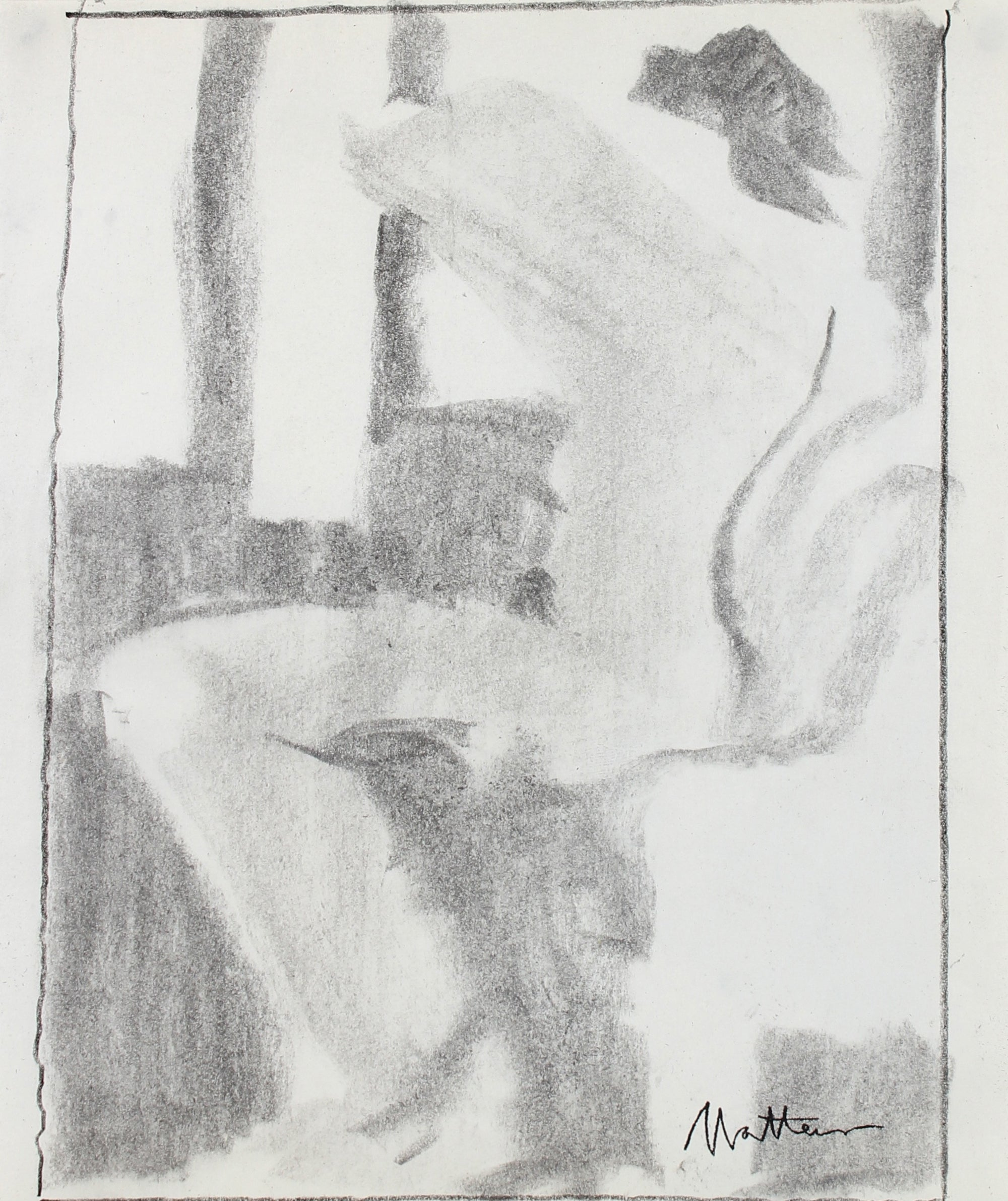 Expressive Figurative Study <br>20th Century Charcoal <br><br>#99756